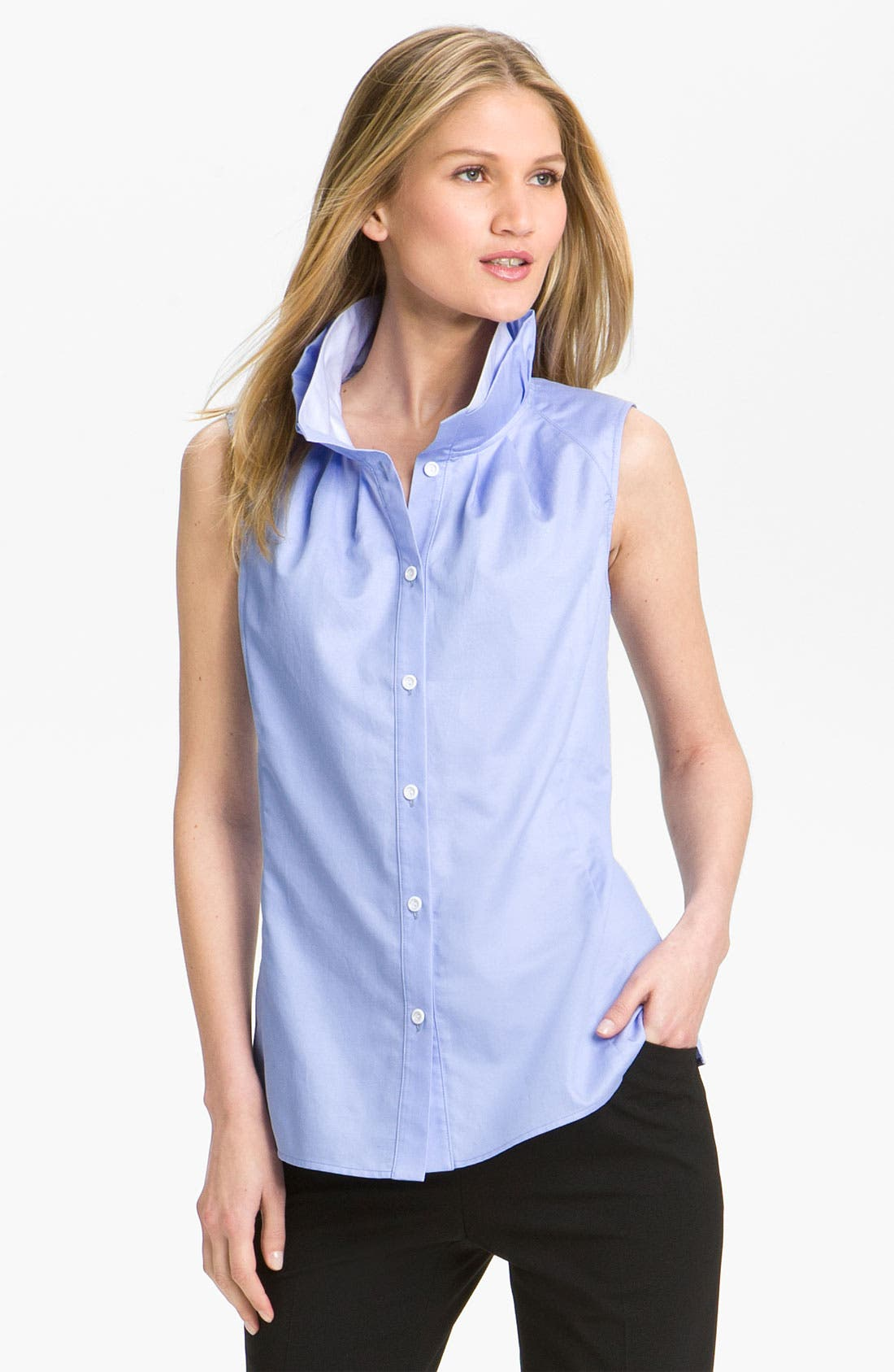 Alternate Image 1 Selected - Lafayette 148 New York 'Annalyse' Two Tone Blouse