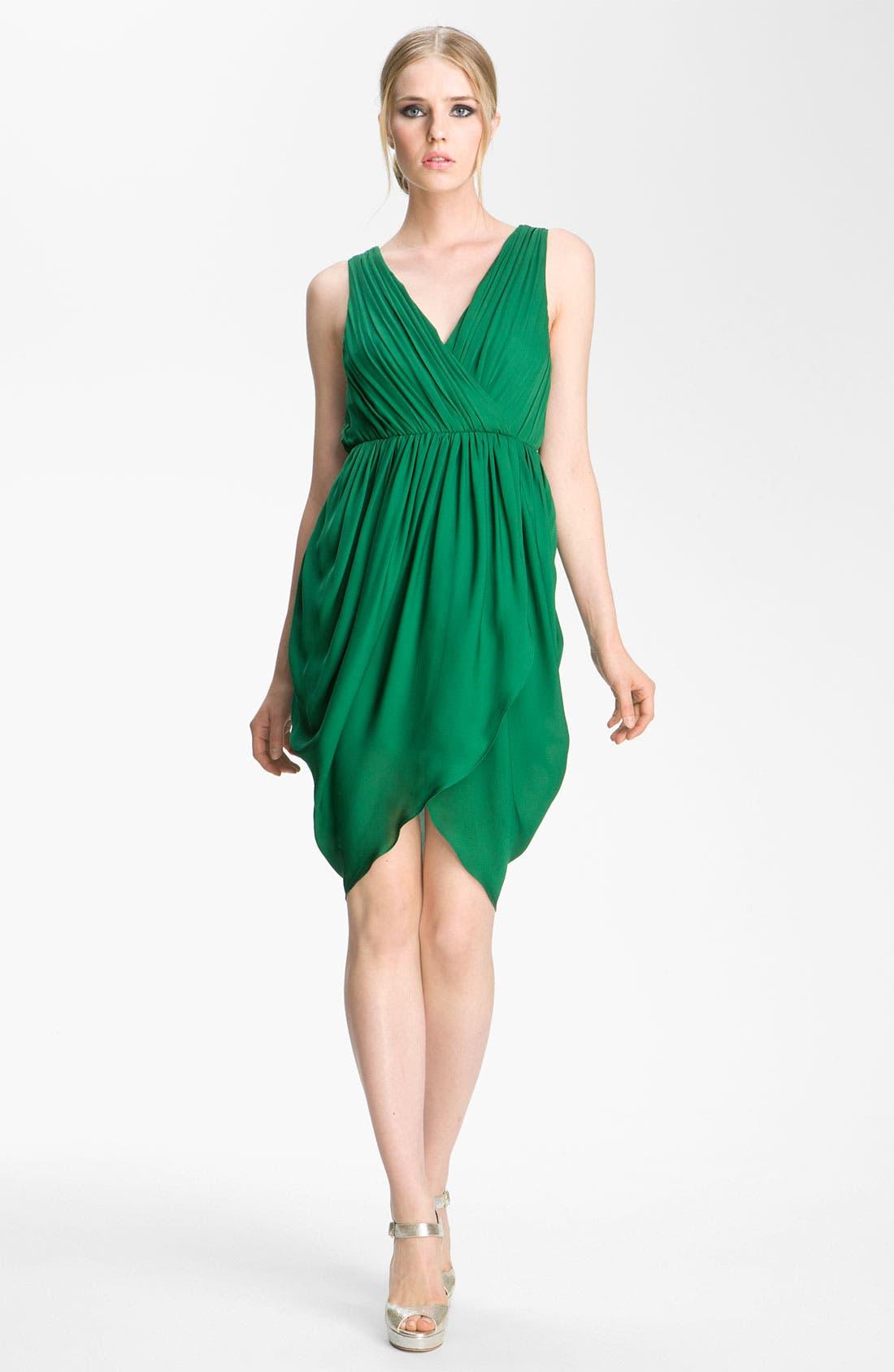 Main Image - Alice + Olivia 'Marielle' Draped Silk Sleeveless Dress
