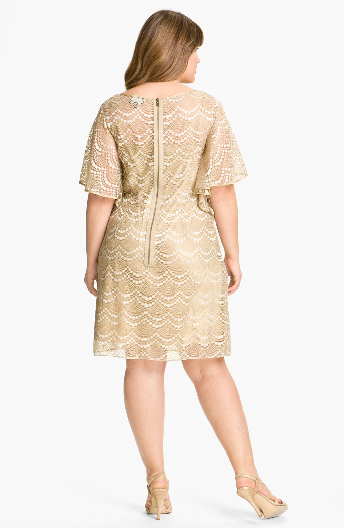 Alternate Image 2  - Adrianna Papell Batwing Lace Overlay Dress (Plus)