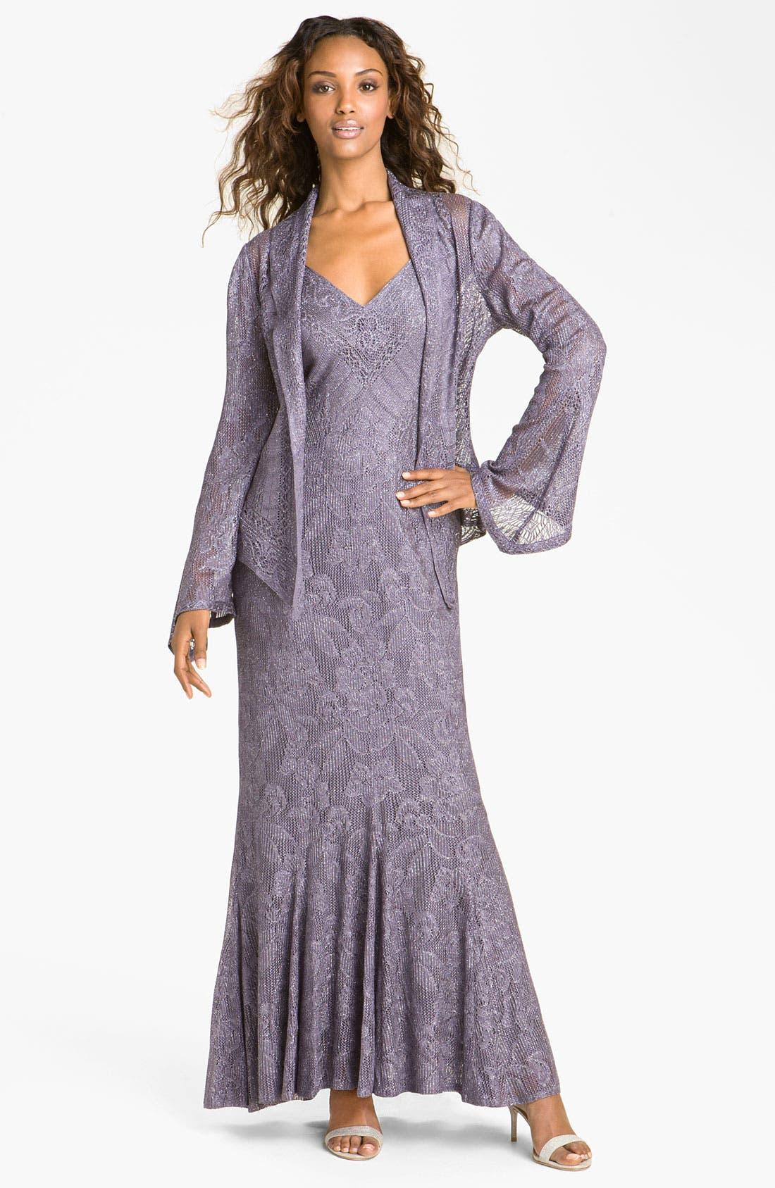 Alternate Image 1 Selected - Damianou Metallic Knit Gown & Jacket