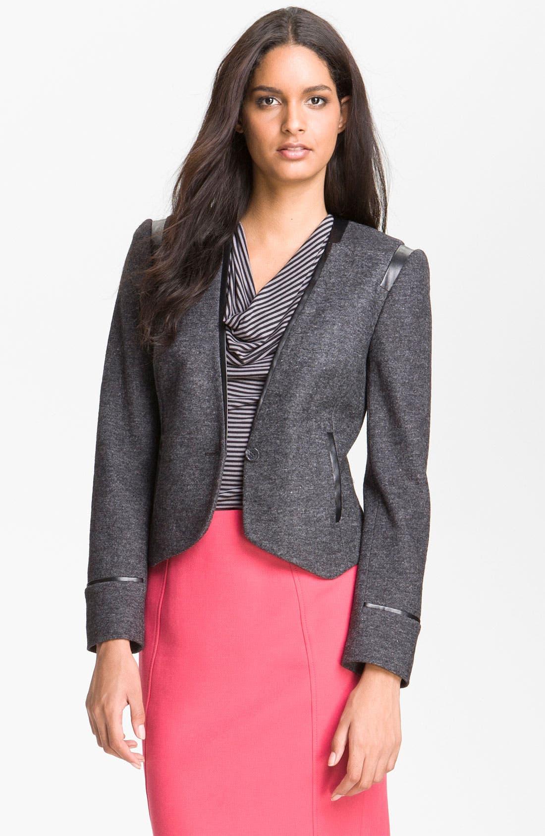 Alternate Image 1 Selected - Halogen® Faux Leather Trim Jacket
