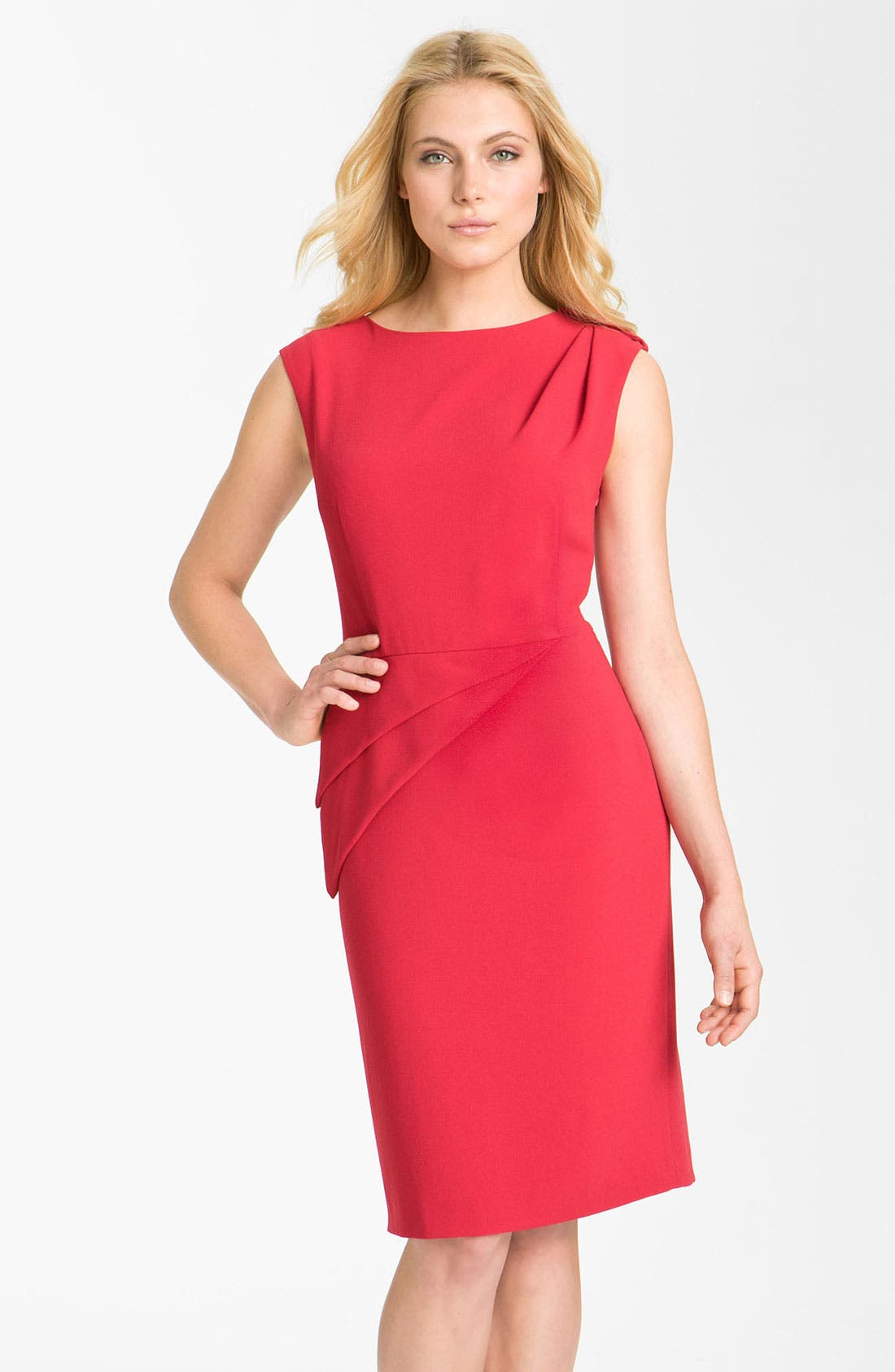 Alternate Image 1 Selected - Adrianna Papell Asymmetrical Peplum Crepe Sheath Dress
