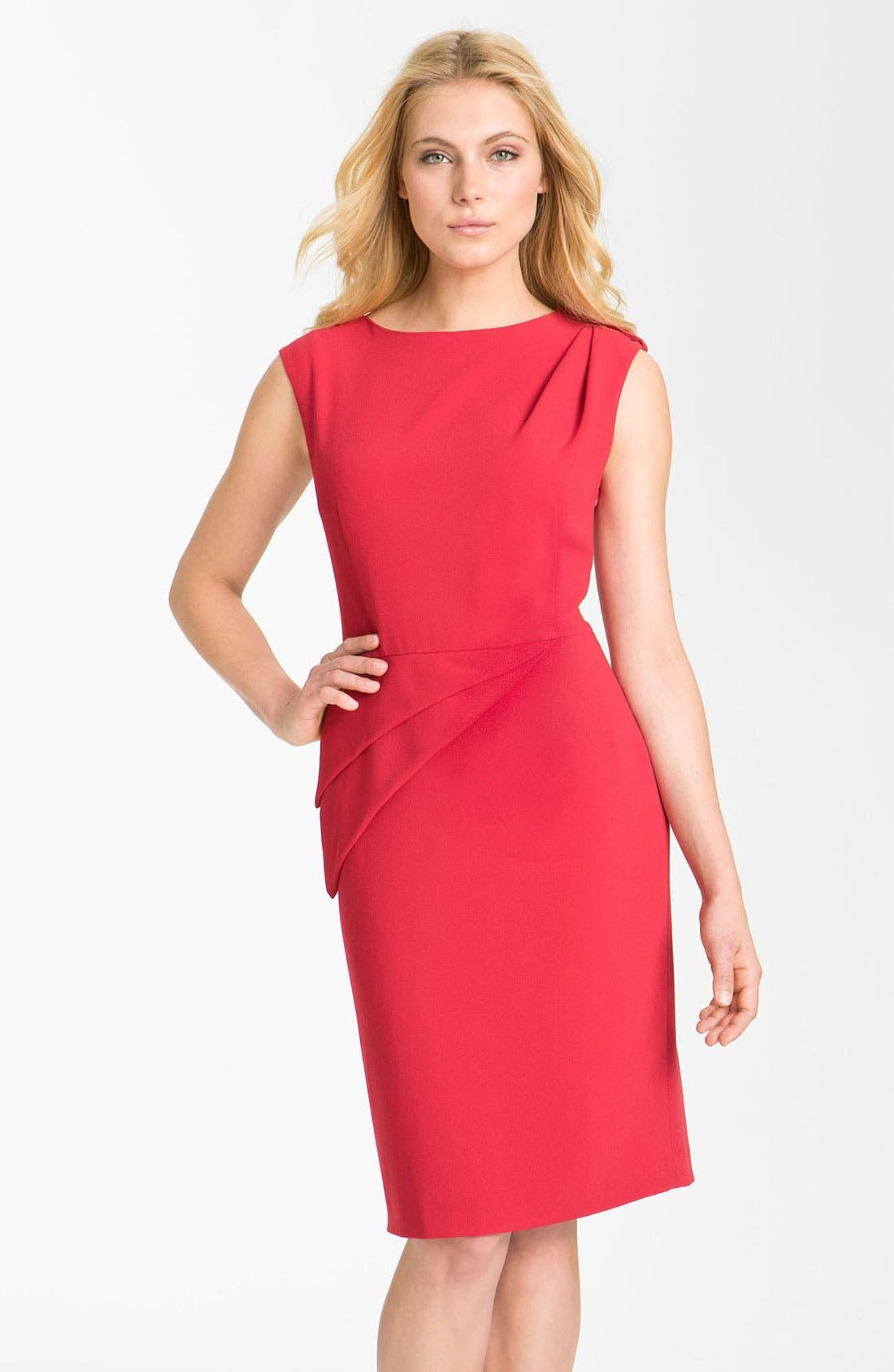 Main Image - Adrianna Papell Asymmetrical Peplum Crepe Sheath Dress