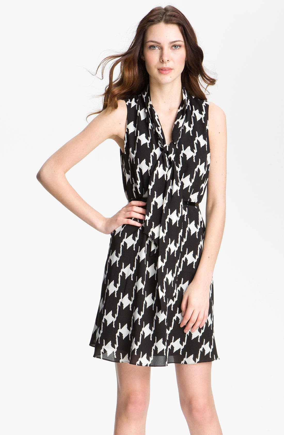 Main Image - Vince Camuto Houndstooth Tie Neck Day Dress