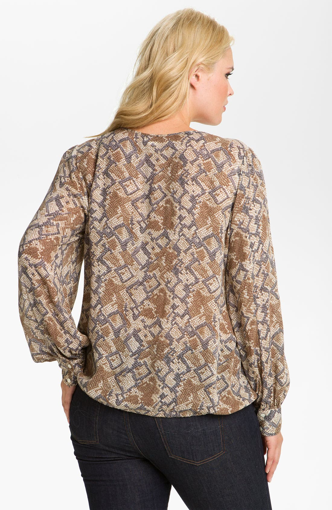 Alternate Image 2  - Lucky Brand 'Anaconda' Blouson Top (Plus)