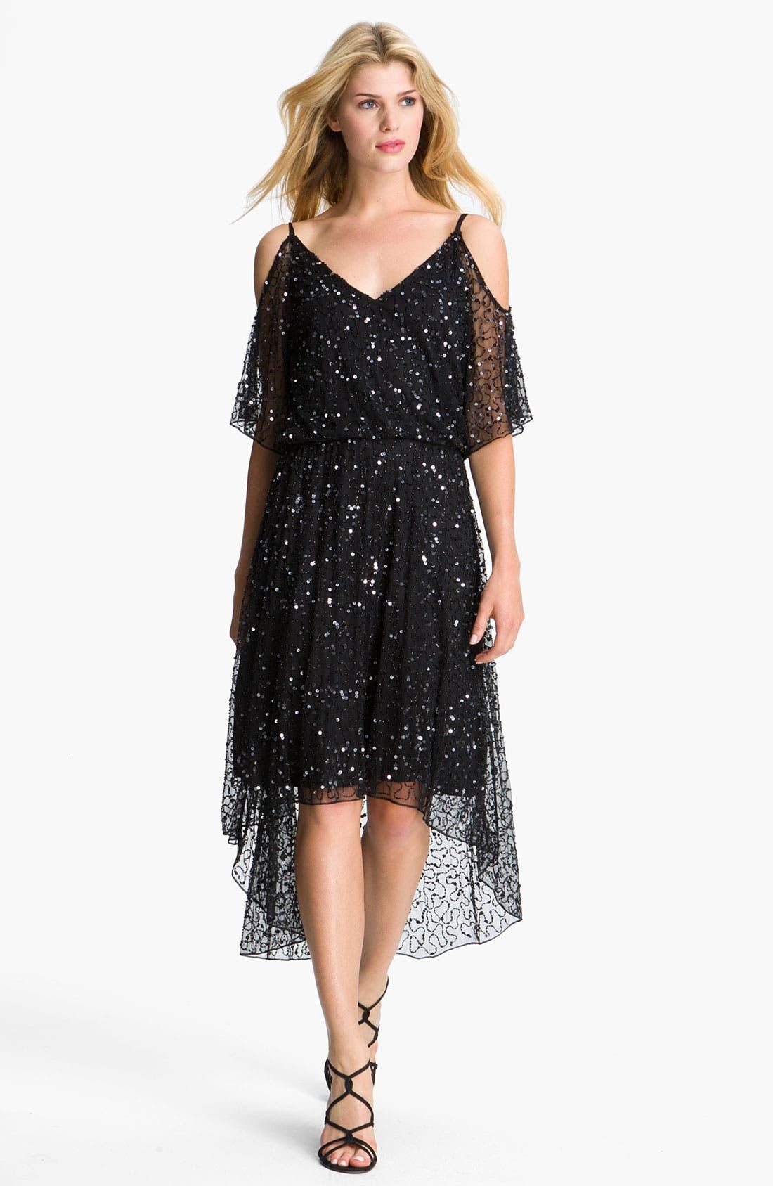 Main Image - Pisarro Nights Sequin Open Shoulder Silk Dress