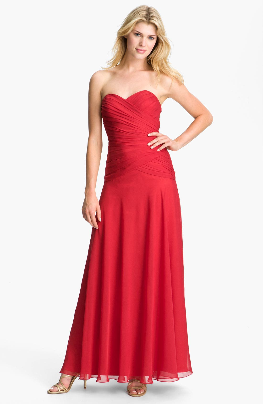 Alternate Image 1 Selected - Dalia MacPhee Pleated Strapless Chiffon Gown (Online Only)