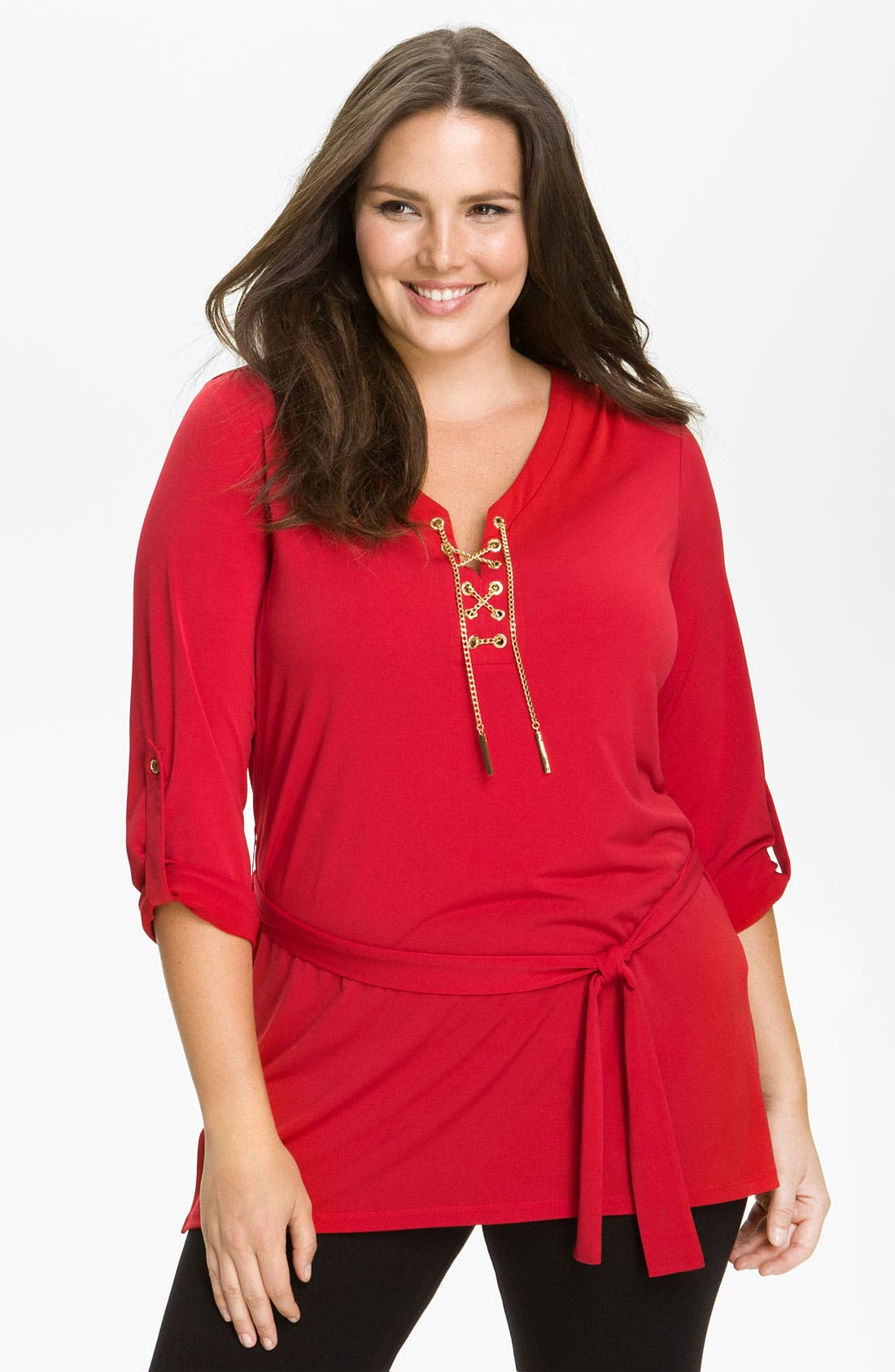 Alternate Image 1 Selected - MICHAEL Michael Kors Chain Lace-Up Knit Tunic (Plus)