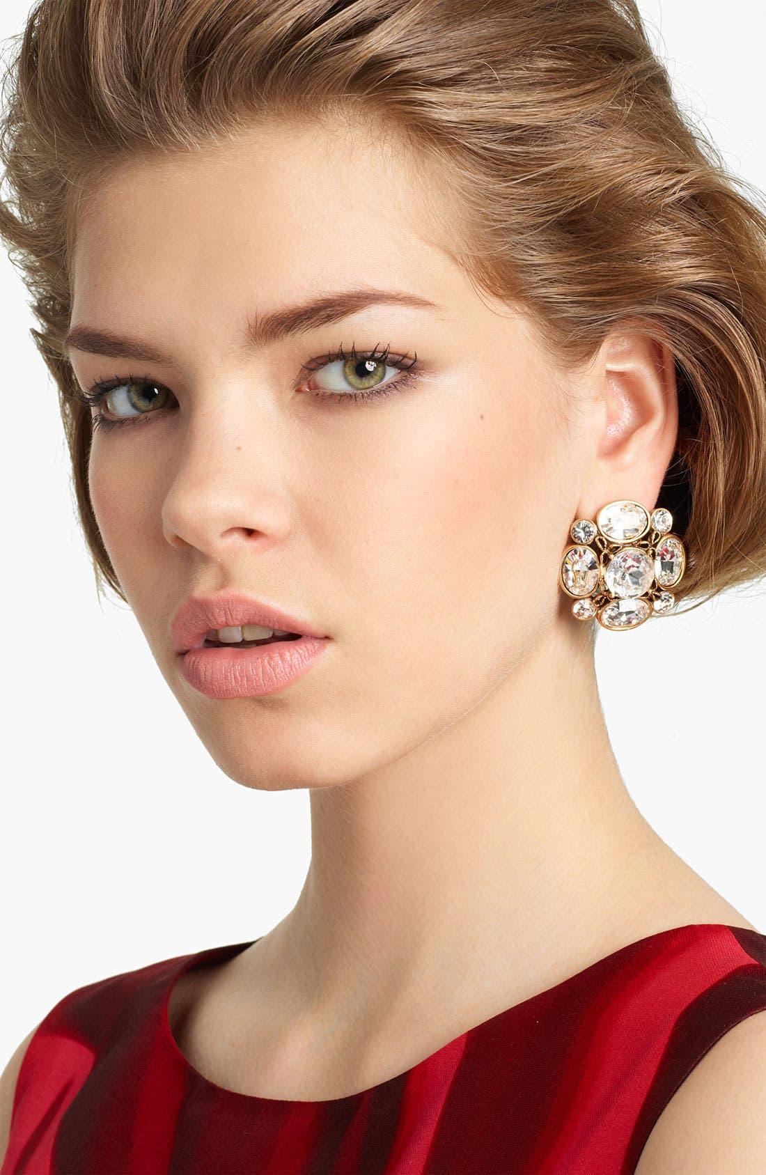 Alternate Image 1 Selected - Oscar de la Renta Crystal Button Earrings