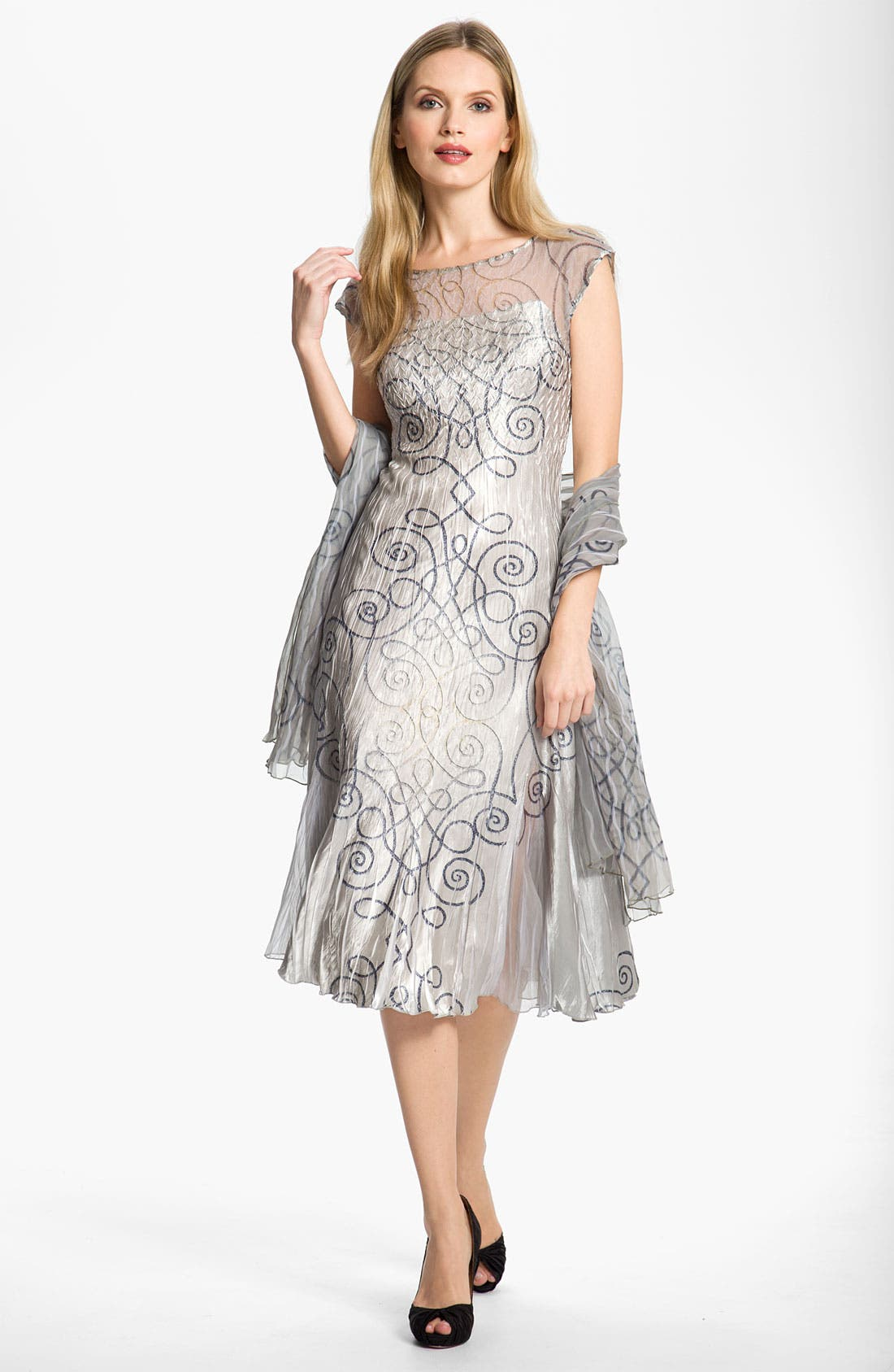Alternate Image 1 Selected - Komarov Swirl Print Textured Charmeuse Dress
