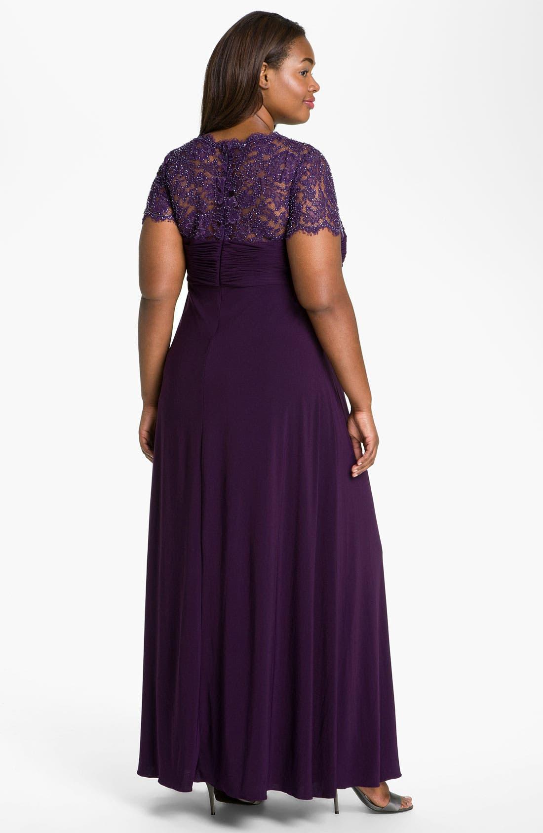 Alternate Image 2  - JS Boutique Beaded Lace & Jersey Dress (Plus)