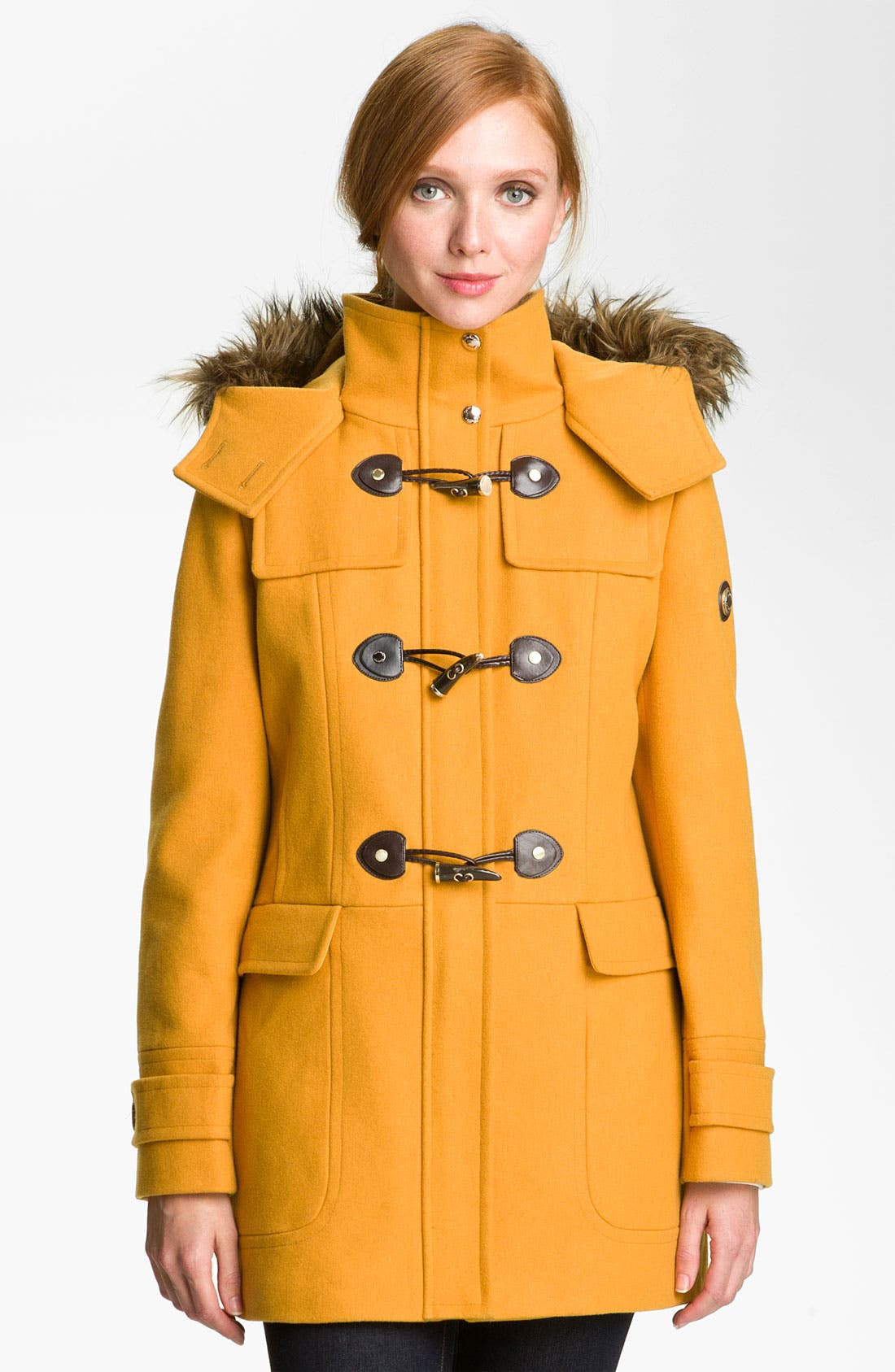 Main Image - Calvin Klein Faux Fur Trim Duffle Coat