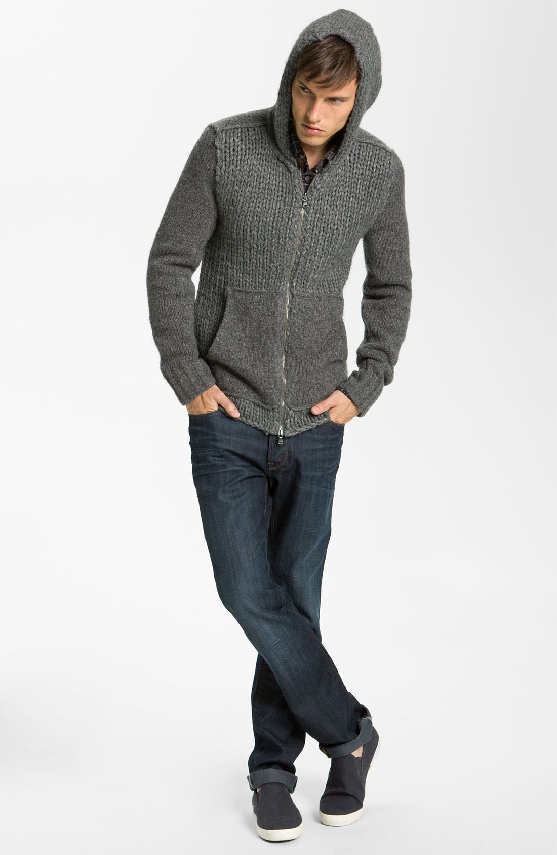 Alternate Image 4  - John Varvatos Star USA Cable Knit Zip Hoodie