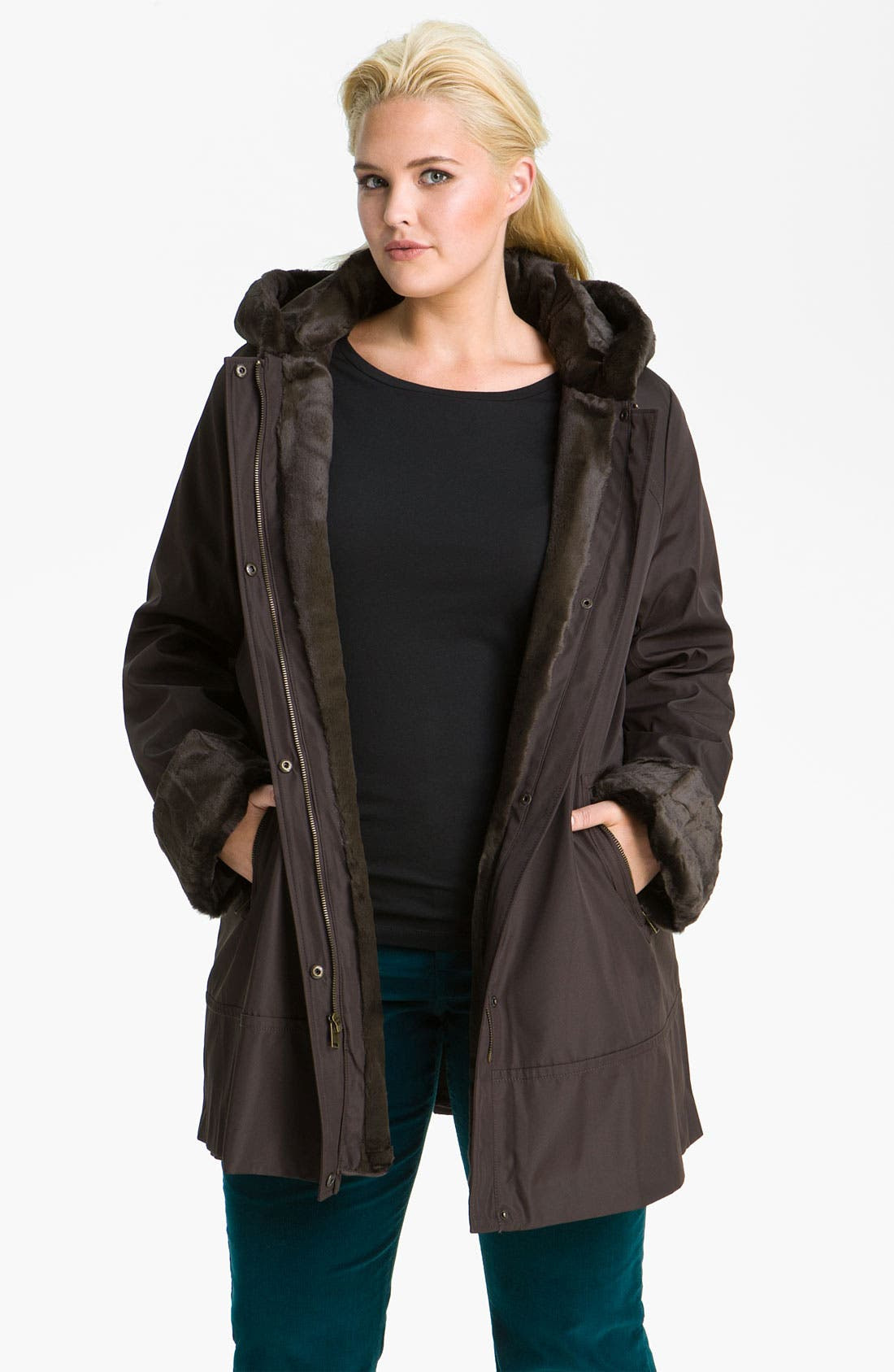Main Image - Marc New York by Andrew Marc 'Leona' Faux Fur Lined Storm Coat (Plus)