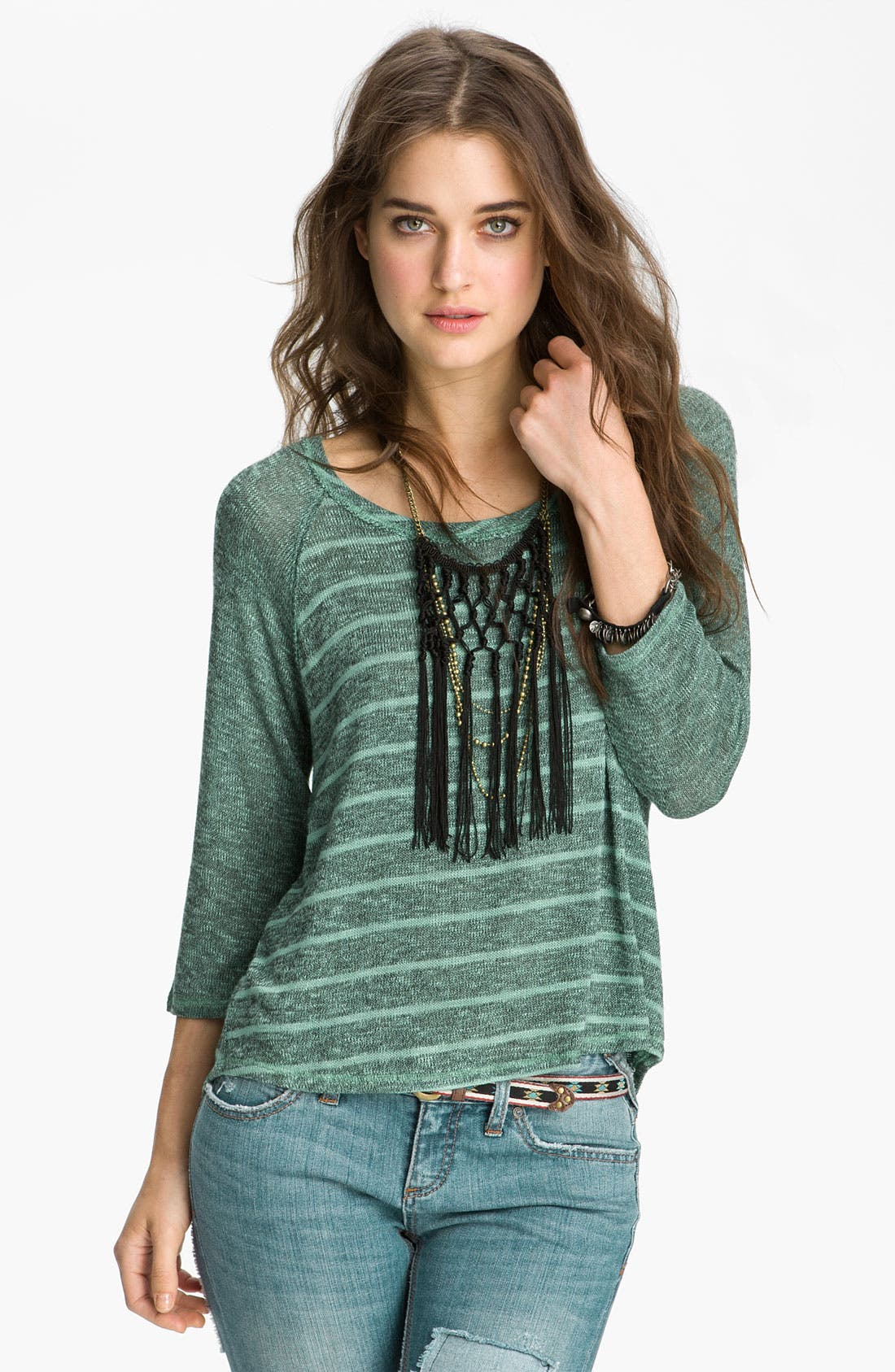 Main Image - Free People 'Last Call' Striped Baseball Sweater