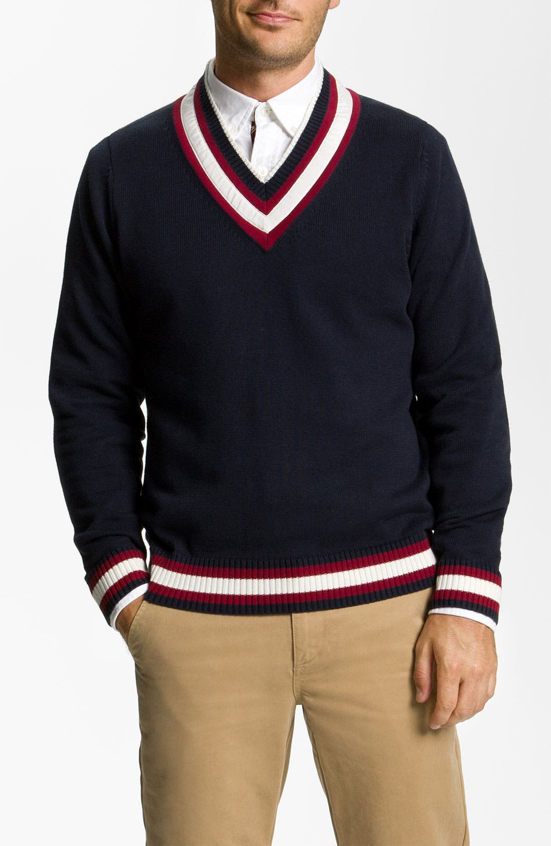 Alternate Image 1 Selected - Brooks Brothers 'Cricket' V-Neck Cotton & Wool Sweater