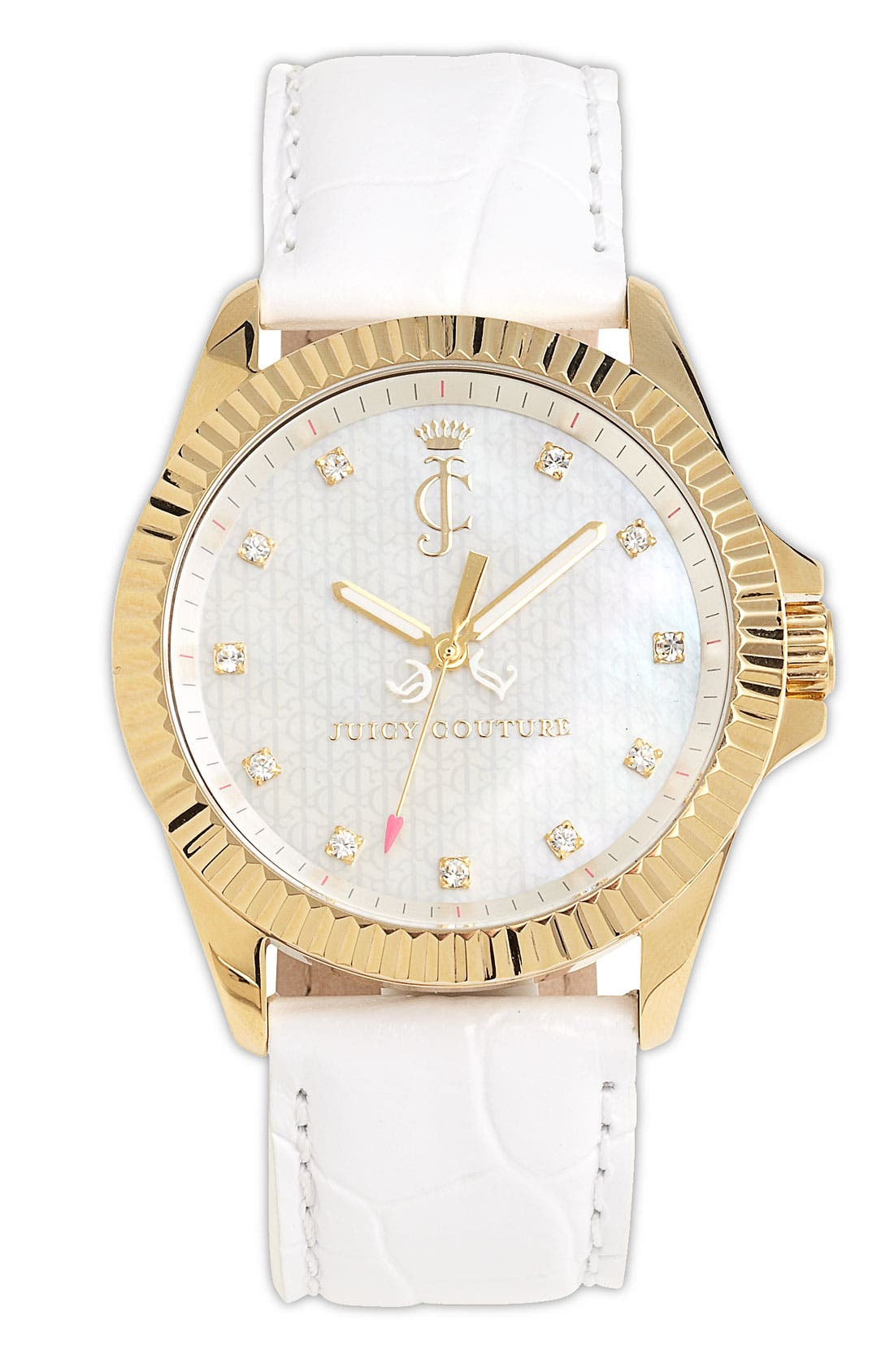 Main Image - Juicy Couture 'Stella' Round Leather Strap Watch