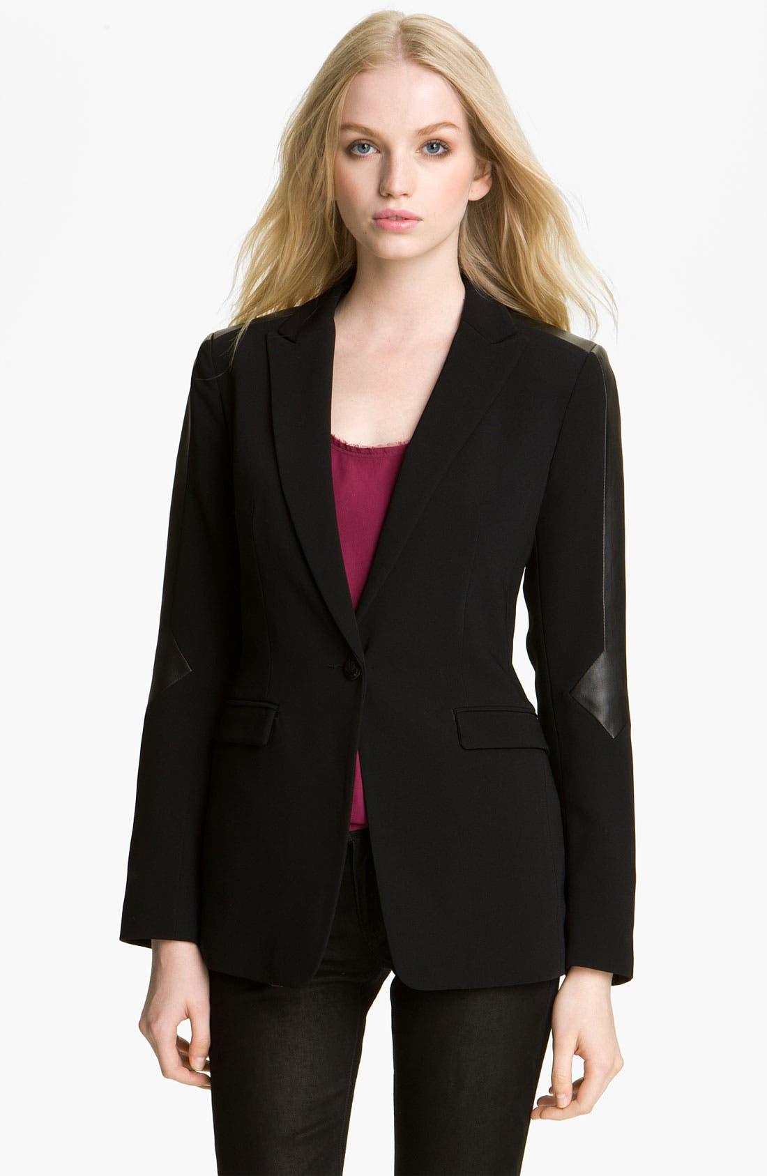 Main Image - rag & bone 'Gayatri' Leather Trim Blazer
