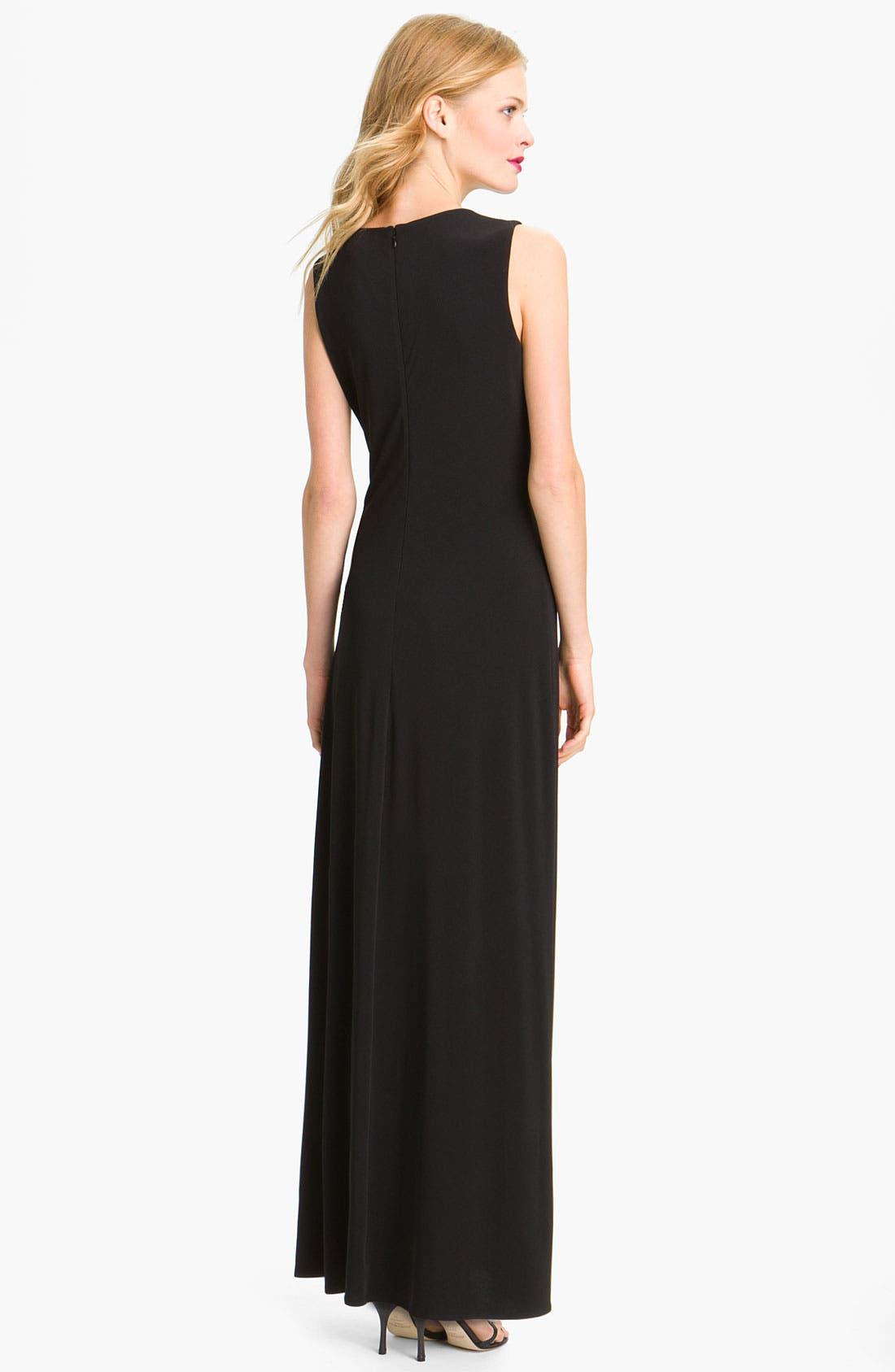 Alternate Image 2  - Calvin Klein Sequin Trim V-Neck Jersey Gown