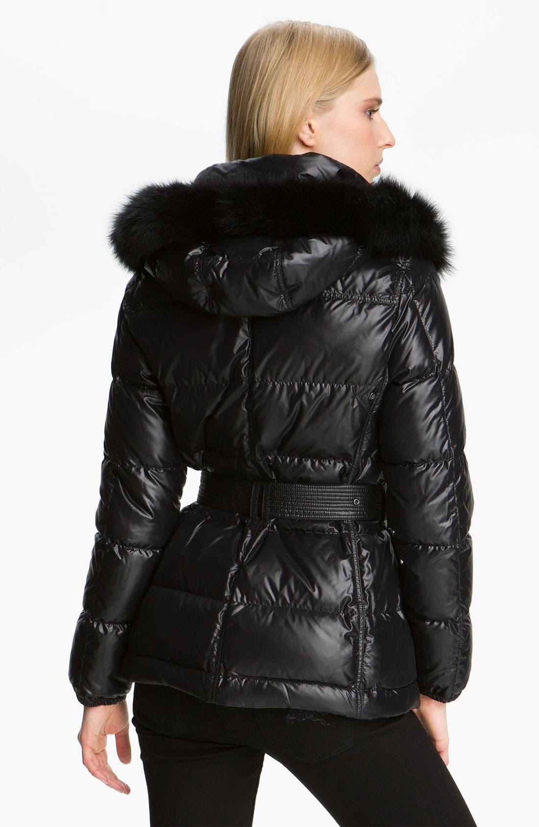 Alternate Image 2  - Burberry Brit Quilted Genuine Fox Fur Trim Coat