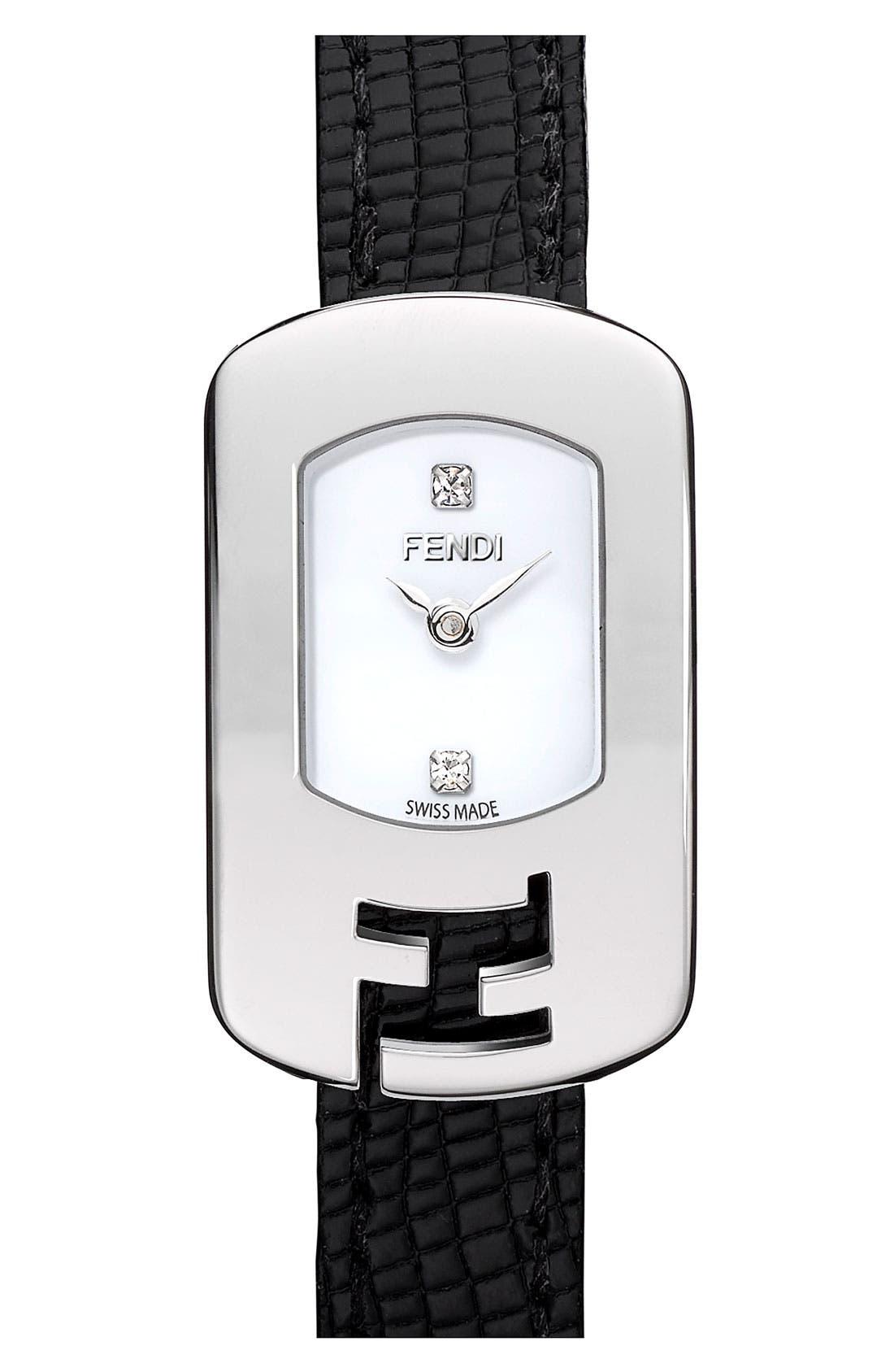 Alternate Image 1 Selected - Fendi 'Chameleon' Leather Strap Watch
