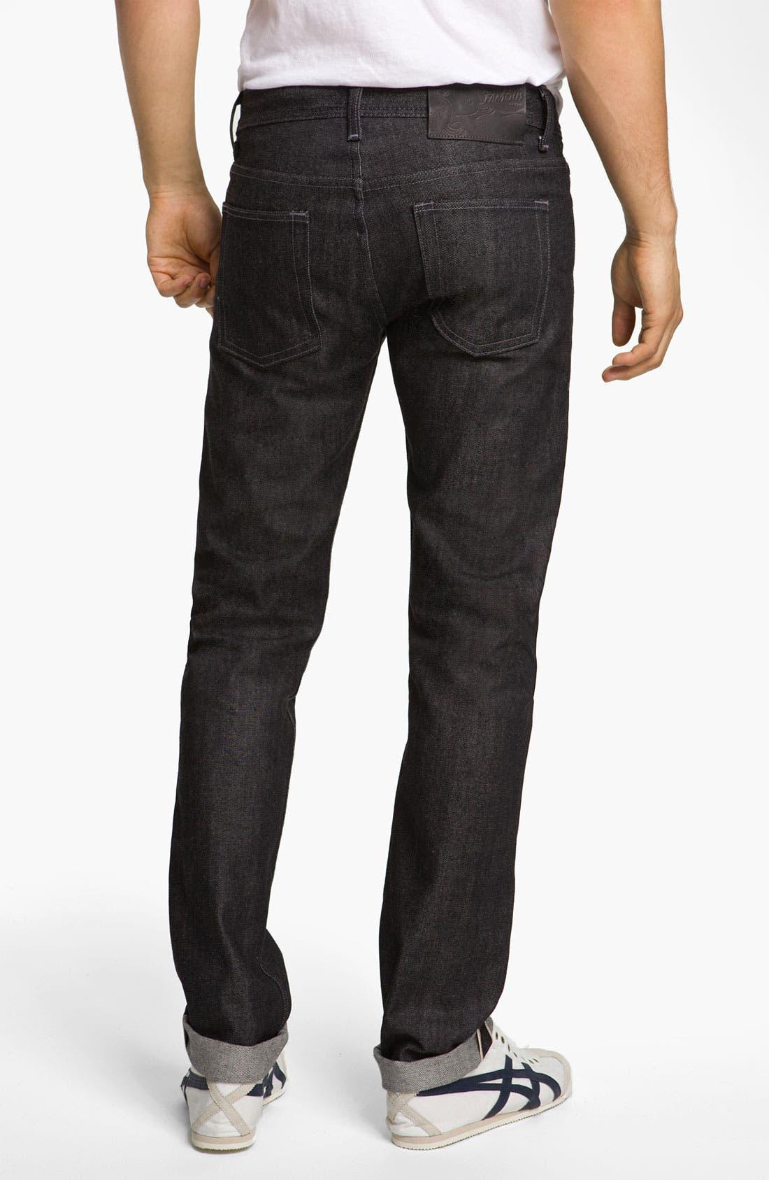 Alternate Image 1 Selected - Naked & Famous Denim 'Weird Guy' Slim Fit Selvedge Jeans (Black)