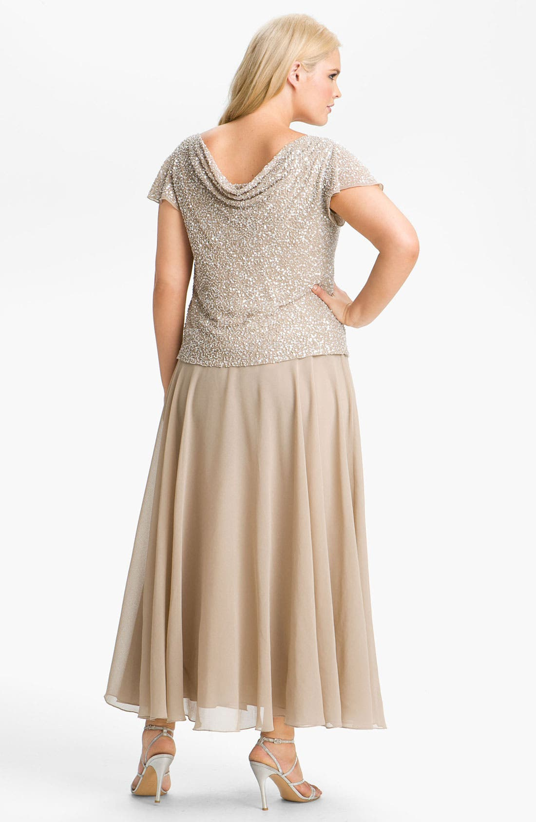 Alternate Image 2  - J Kara Sequin Flutter Sleeve Bodice Chiffon Gown (Plus)