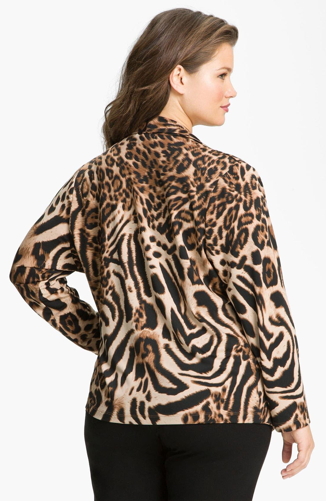 Alternate Image 2  - Karen Kane 'Cheetah' Drape Jacket (Plus)