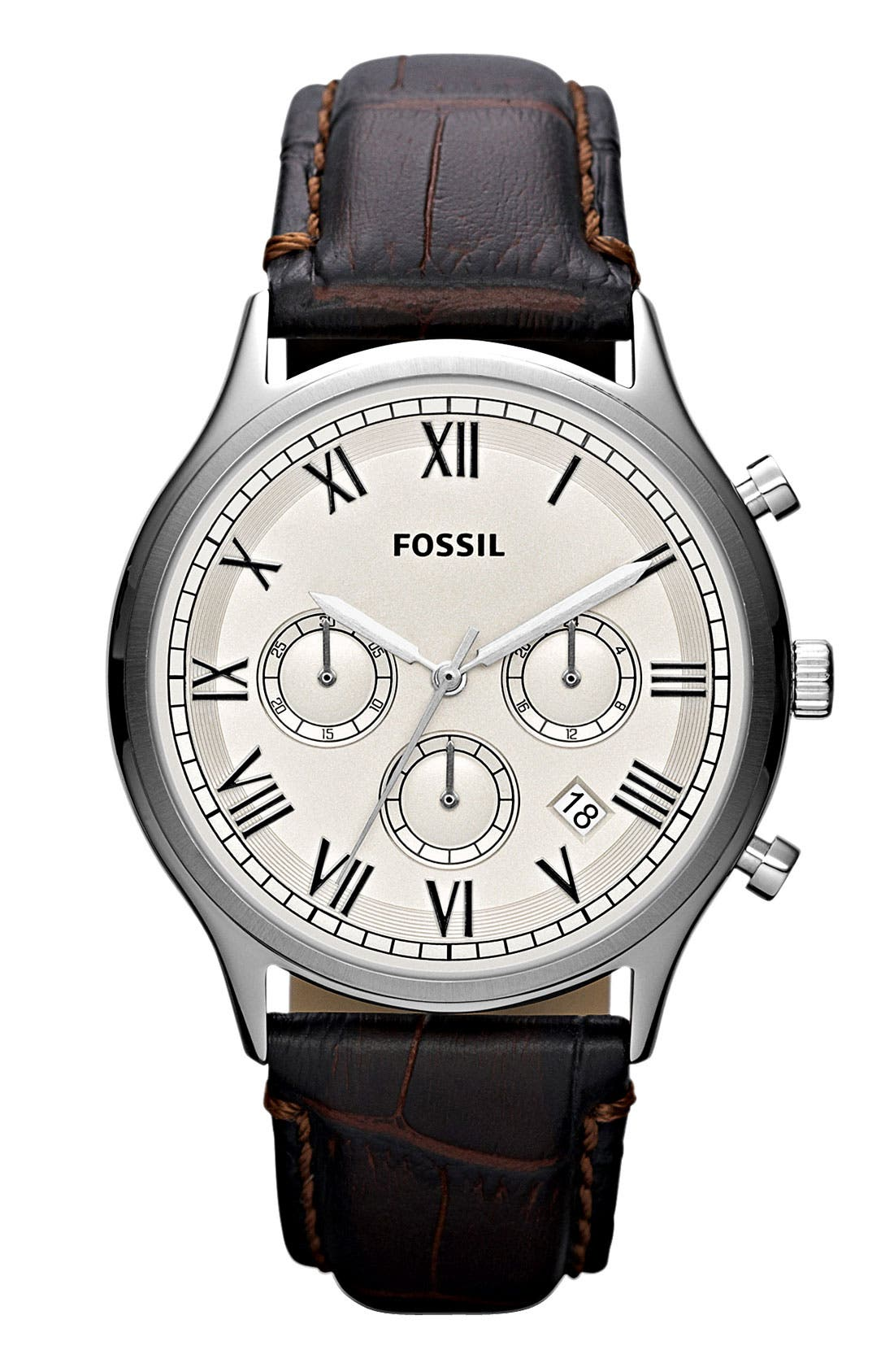Main Image - Fossil 'Ansel' Round Chronograph Leather Strap Watch, 41mm