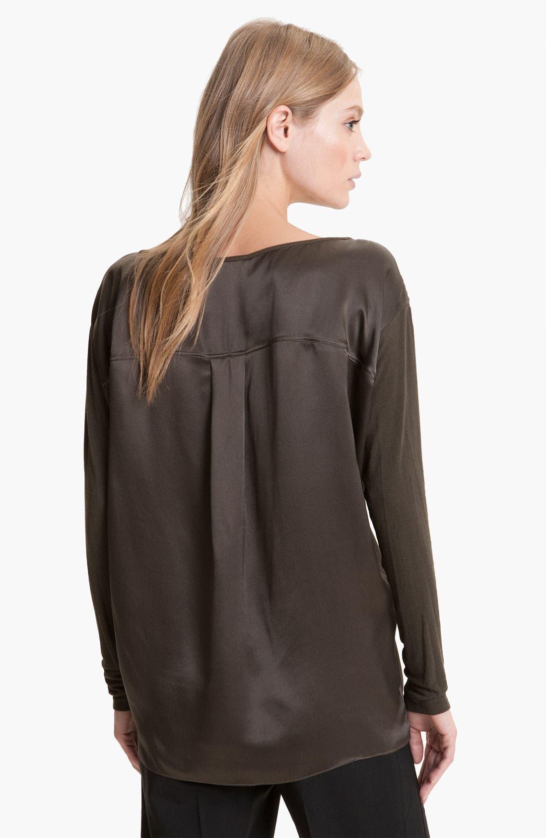 Alternate Image 2  - Vince Knit Sleeve Silk Top