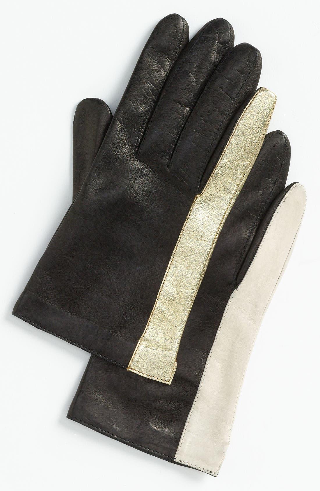 Main Image - Diane von Furstenberg Colorblock Leather Gloves