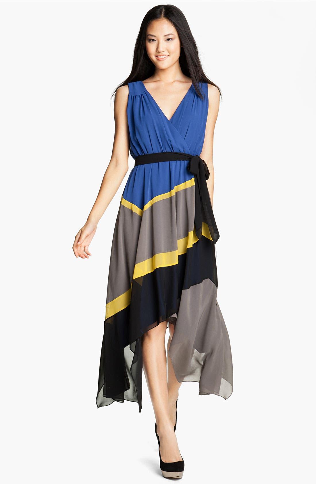 Alternate Image 1 Selected - Max & Cleo 'Jamie' Colorblock Chiffon Dress