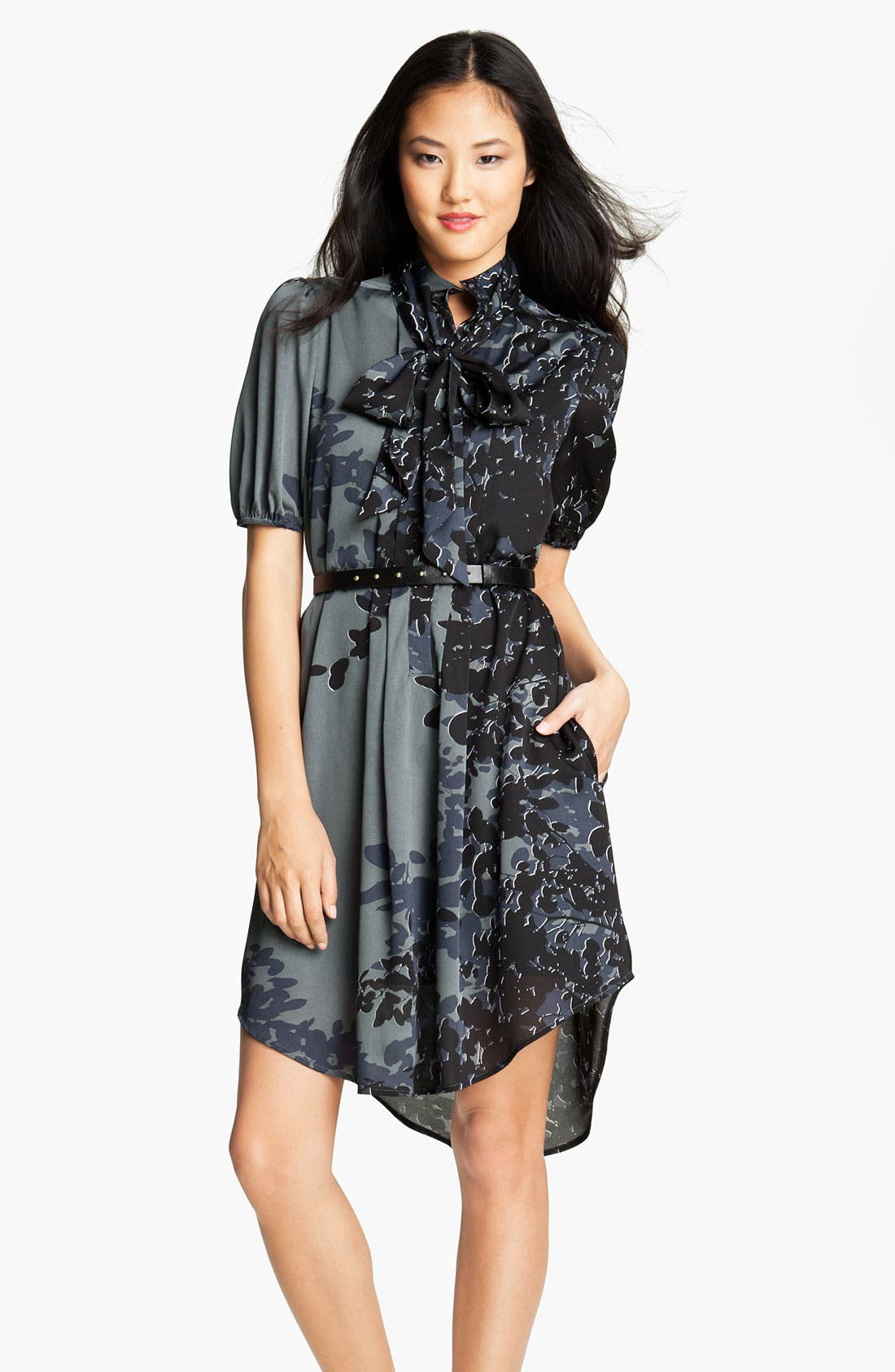 Main Image - Jessica Simpson Print Puff Sleeve Shirtdress