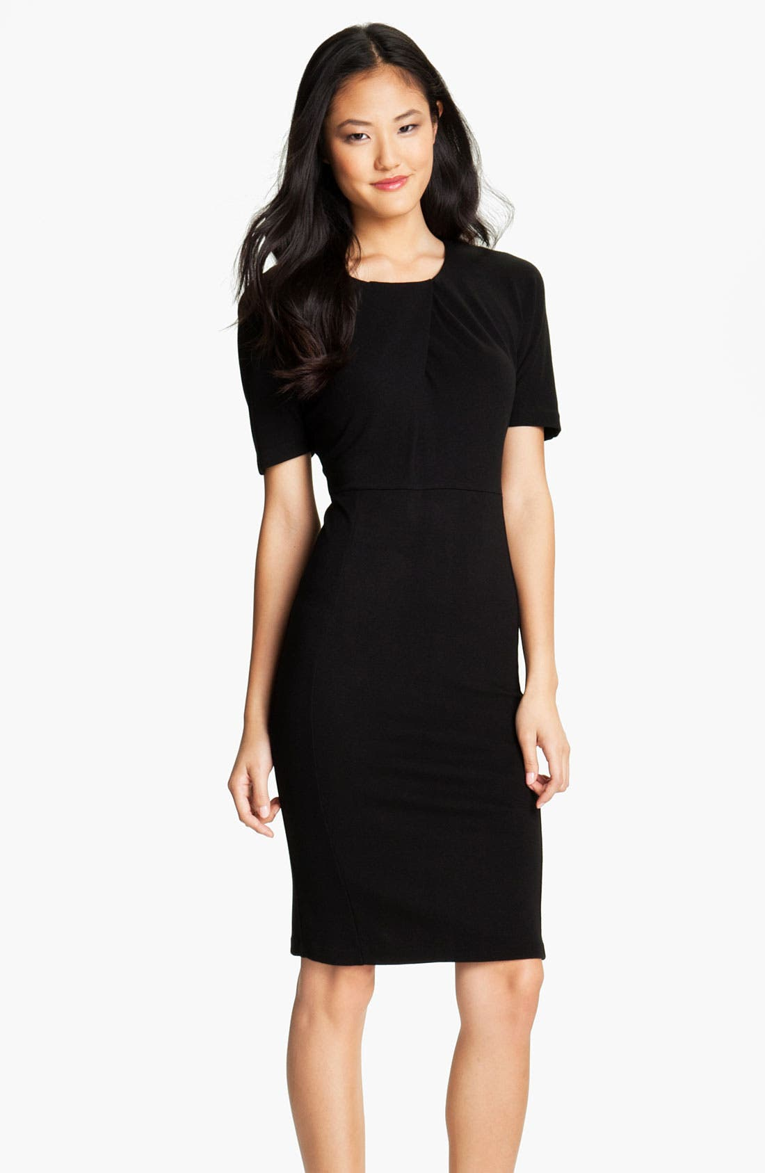 Main Image - Velvet by Graham & Spencer Pleated Neck Ponte Sheath Dress