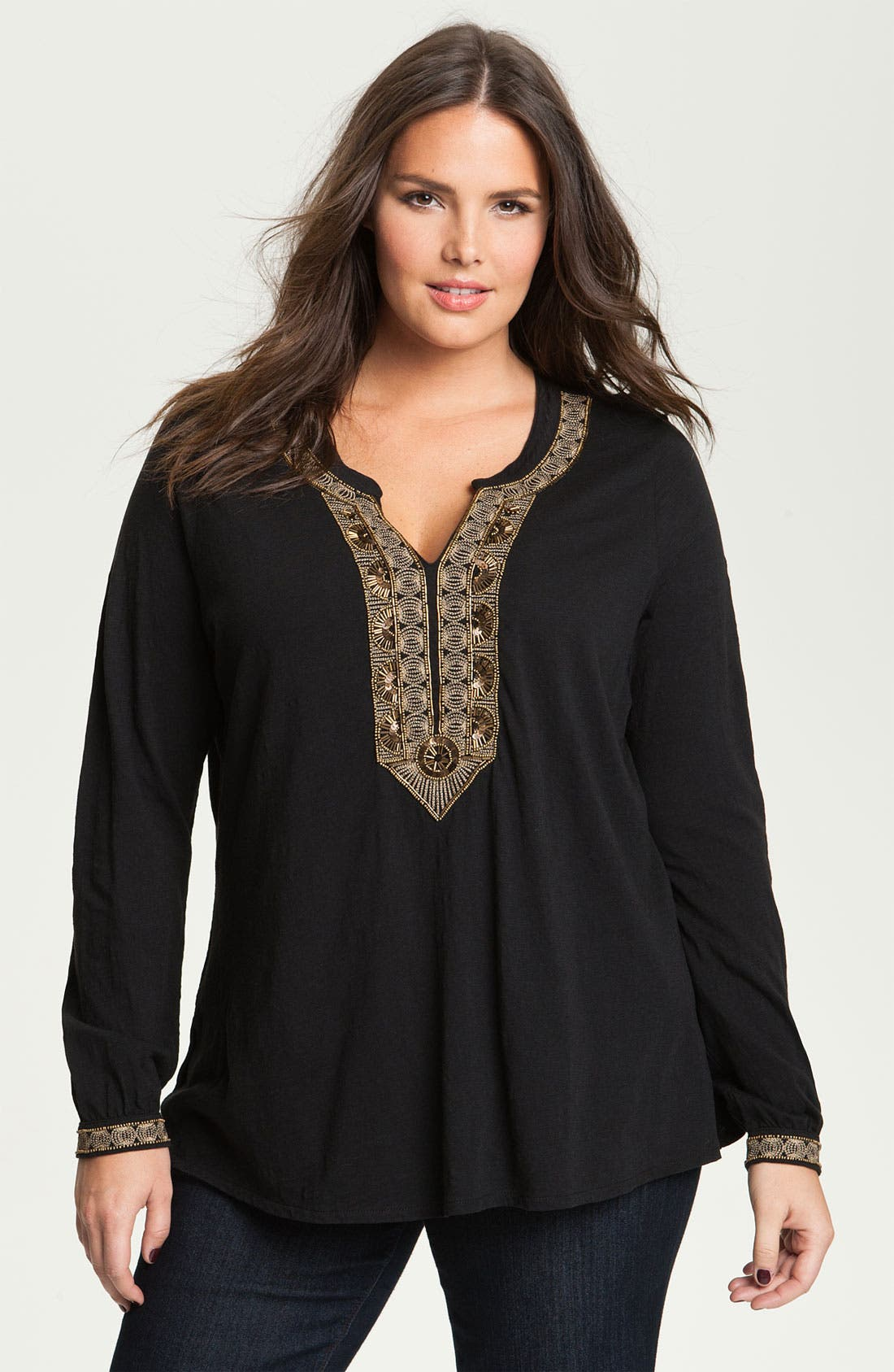 Alternate Image 1 Selected - Lucky Brand 'Jasmine' Beaded Tunic (Plus)