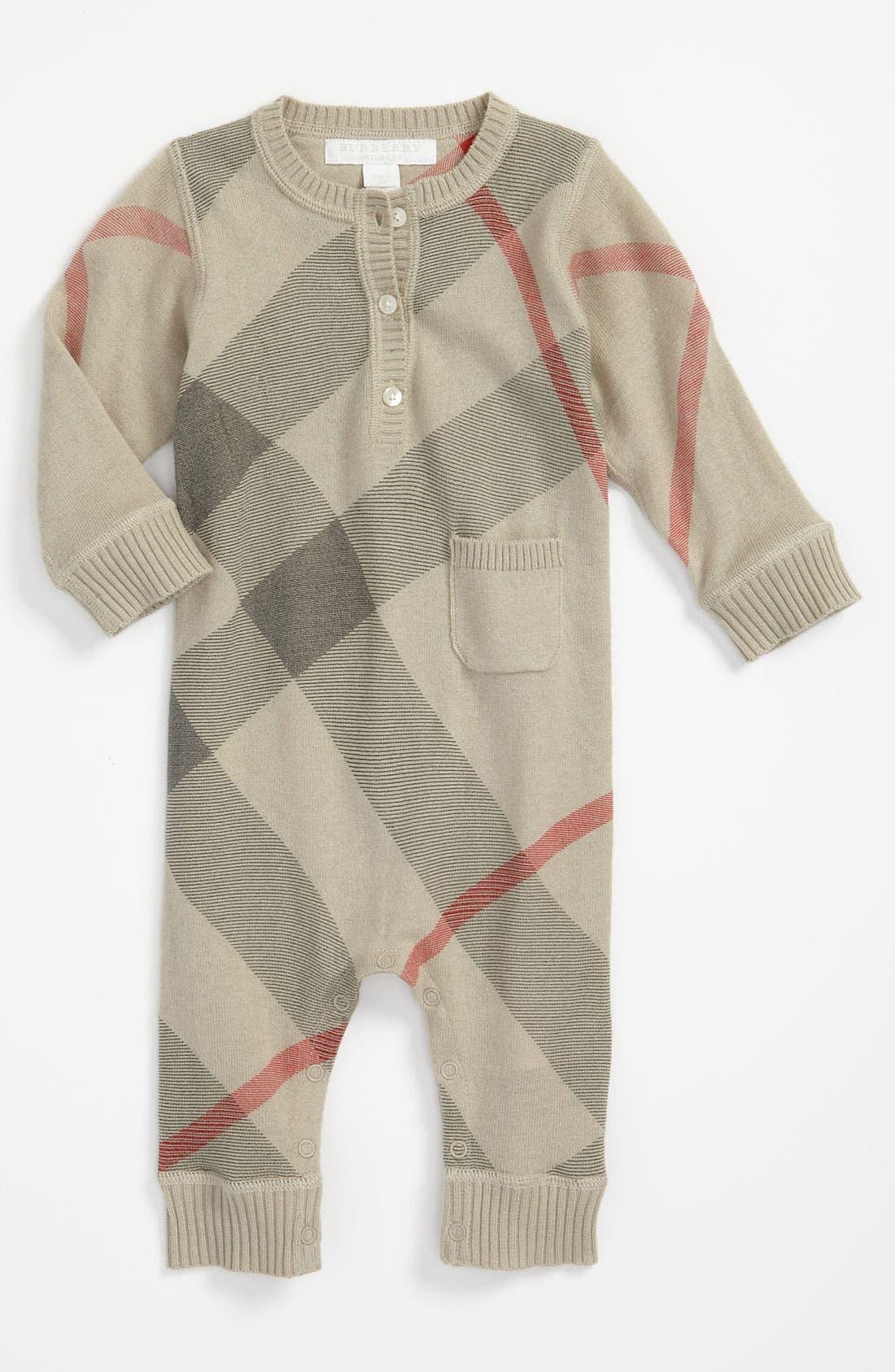 Main Image - Burberry Check Print Cashmere & Cotton Romper (Infant)