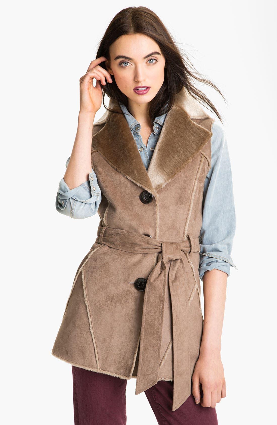 Alternate Image 1  - Ellen Tracy Faux Shearling Notch Collar Vest