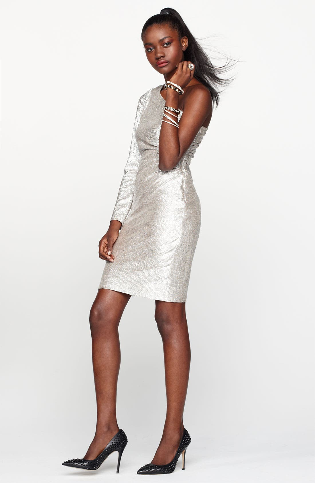 Alternate Image 5  - Hailey by Adrianna Papell One Sleeve Metallic Sheath Dress