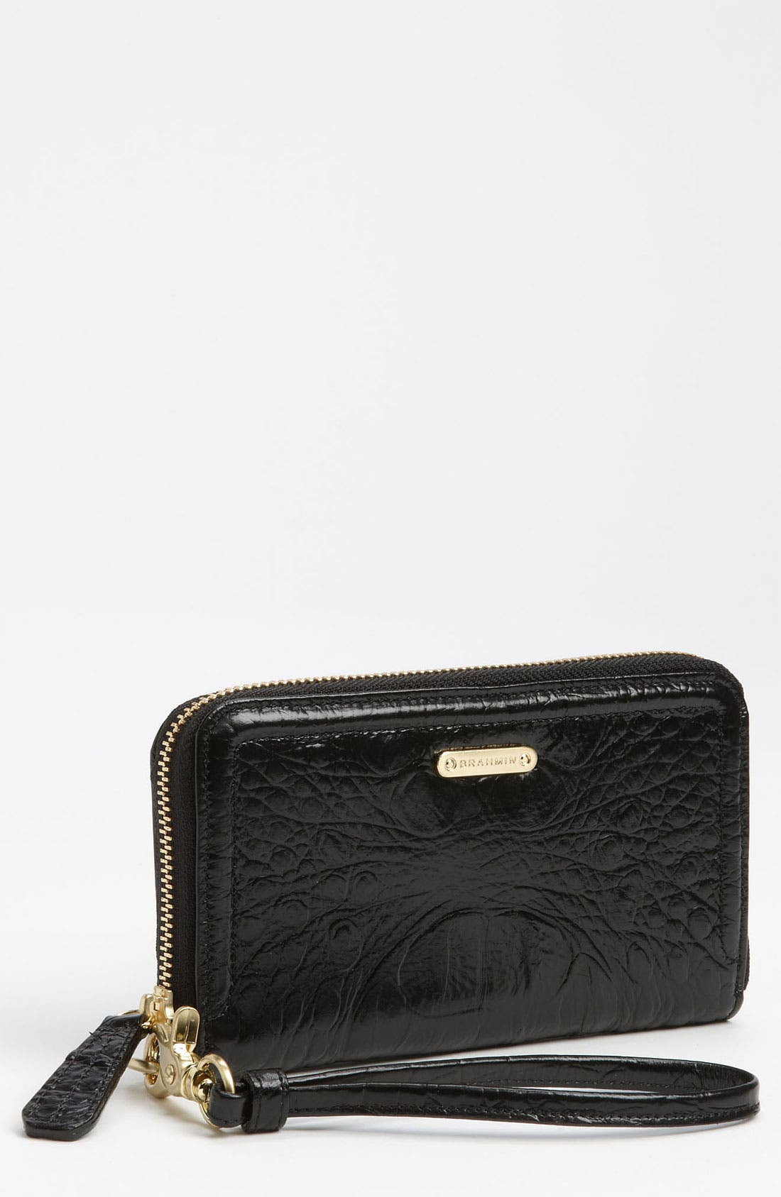 Main Image - Brahmin 'Riley' Croc Embossed Leather Wristlet