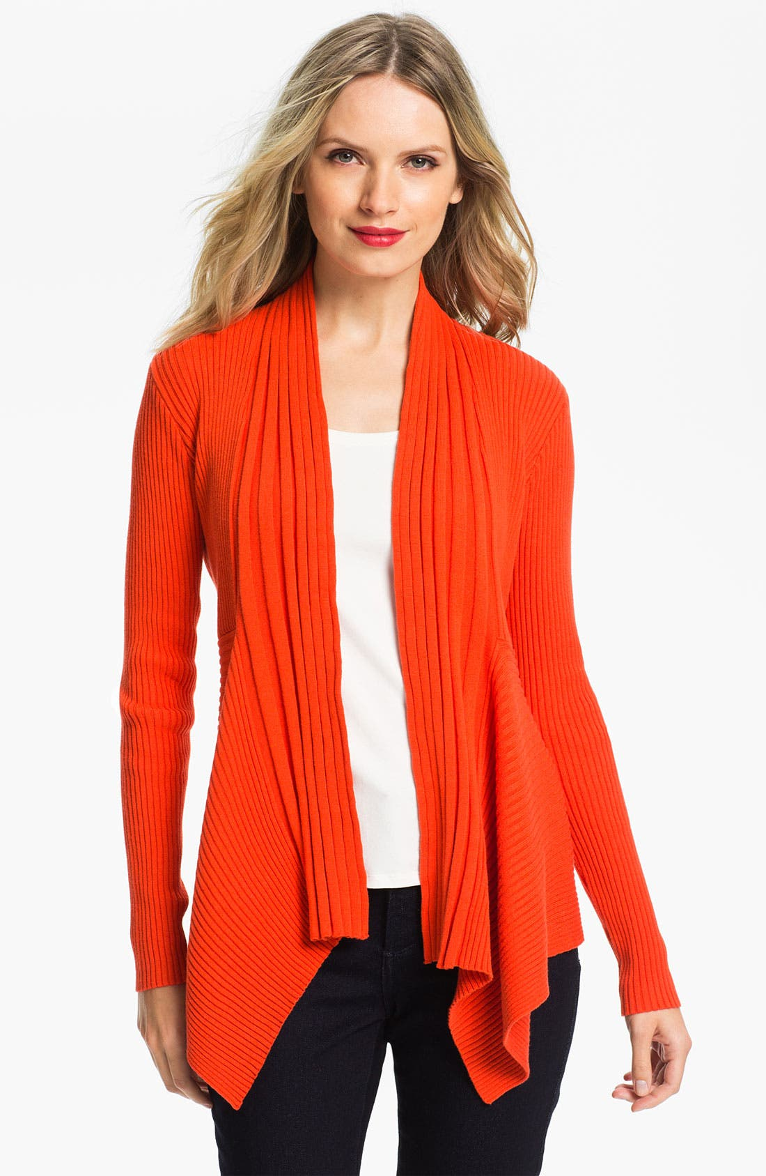 Alternate Image 1 Selected - Chaus Ribbed Open Cardigan