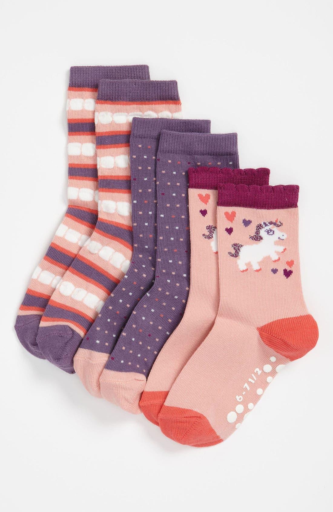 Alternate Image 1 Selected - Nordstrom 'Unicorn' Crew Socks (3-Pack) (Toddler & Little Girls)