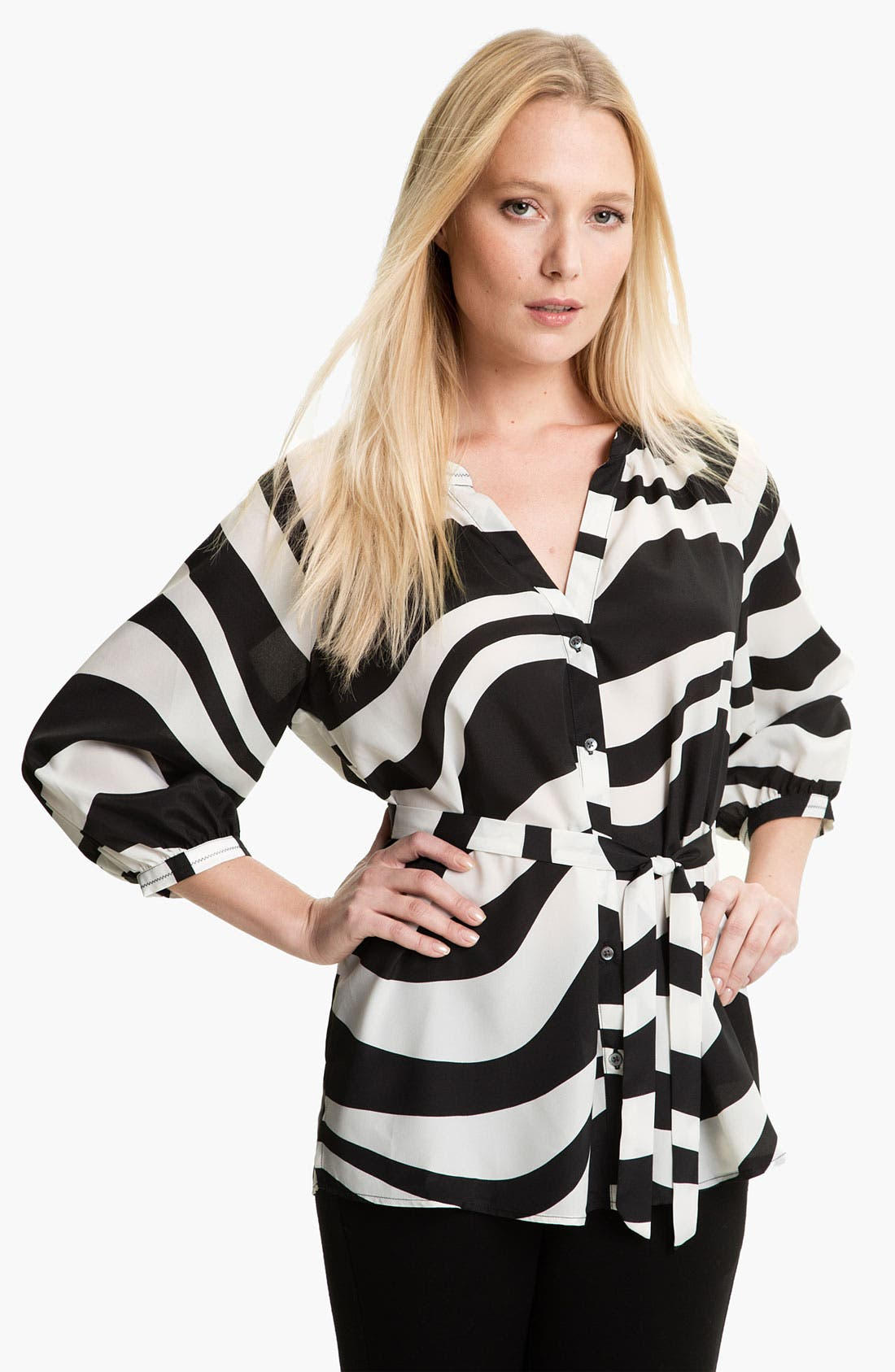 Alternate Image 1 Selected - Isaac Mizrahi Jeans 'Effie' Zebra Print Blouse