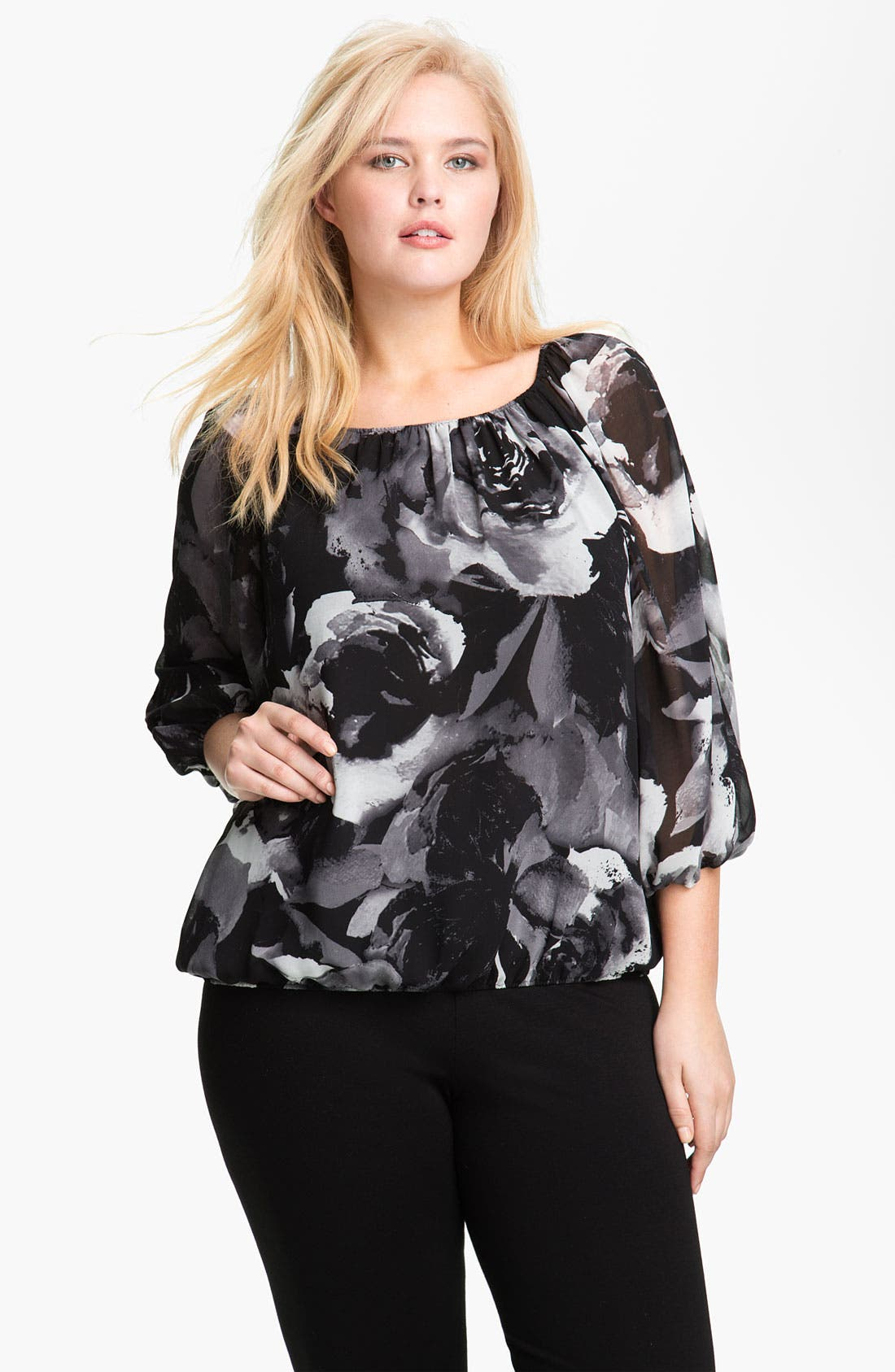 Main Image - Vince Camuto Print Split Sleeve Blouse (Plus)