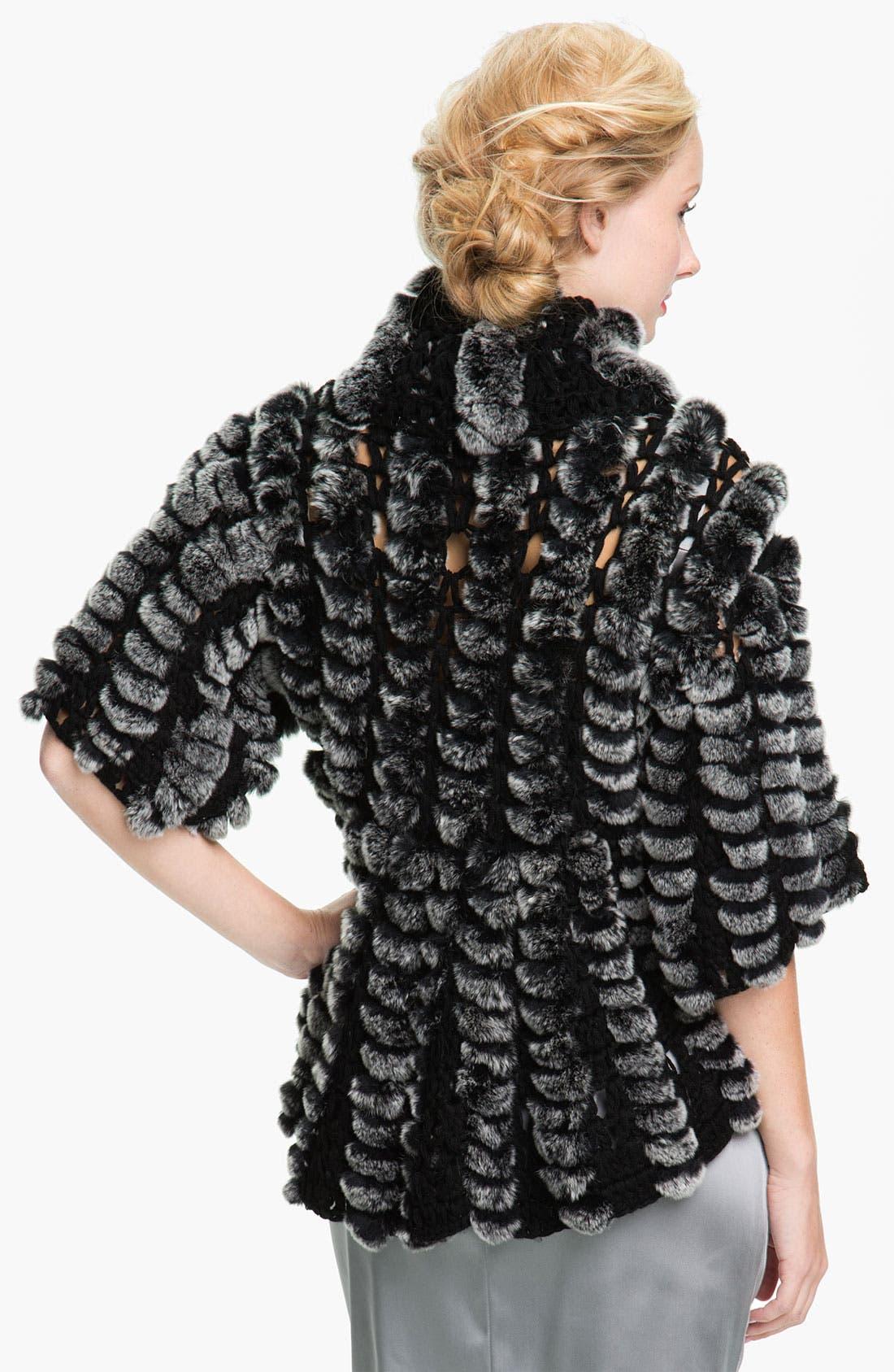 Alternate Image 2  - Alexia Admor Crochet & Genuine Rabbit Fur Capelet