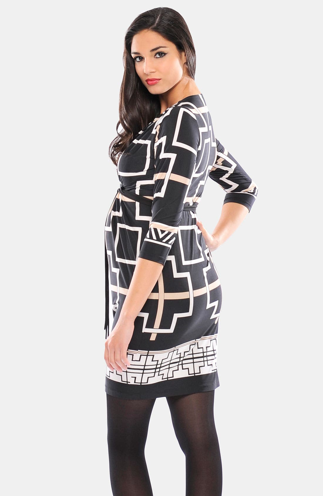 Alternate Image 2  - Olian 'Monique' Print Maternity Wrap Dress