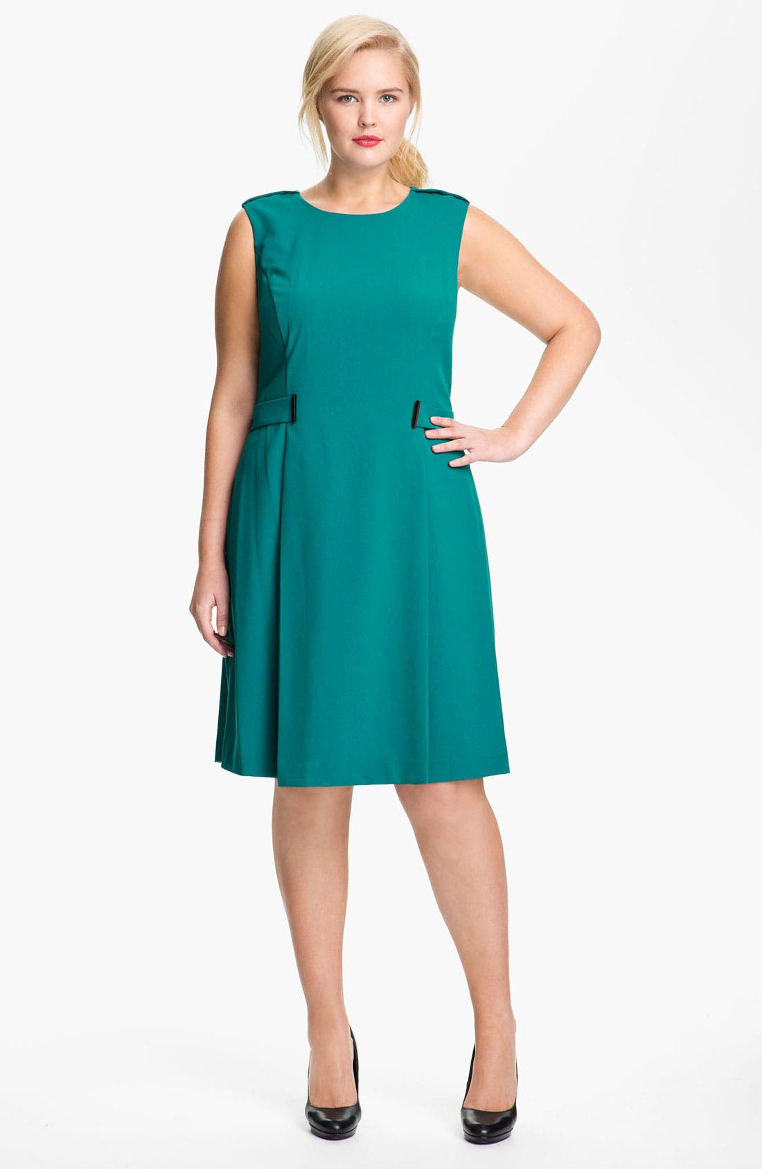 Alternate Image 1 Selected - Calvin Klein Side Tab Sleeveless Dress (Plus)