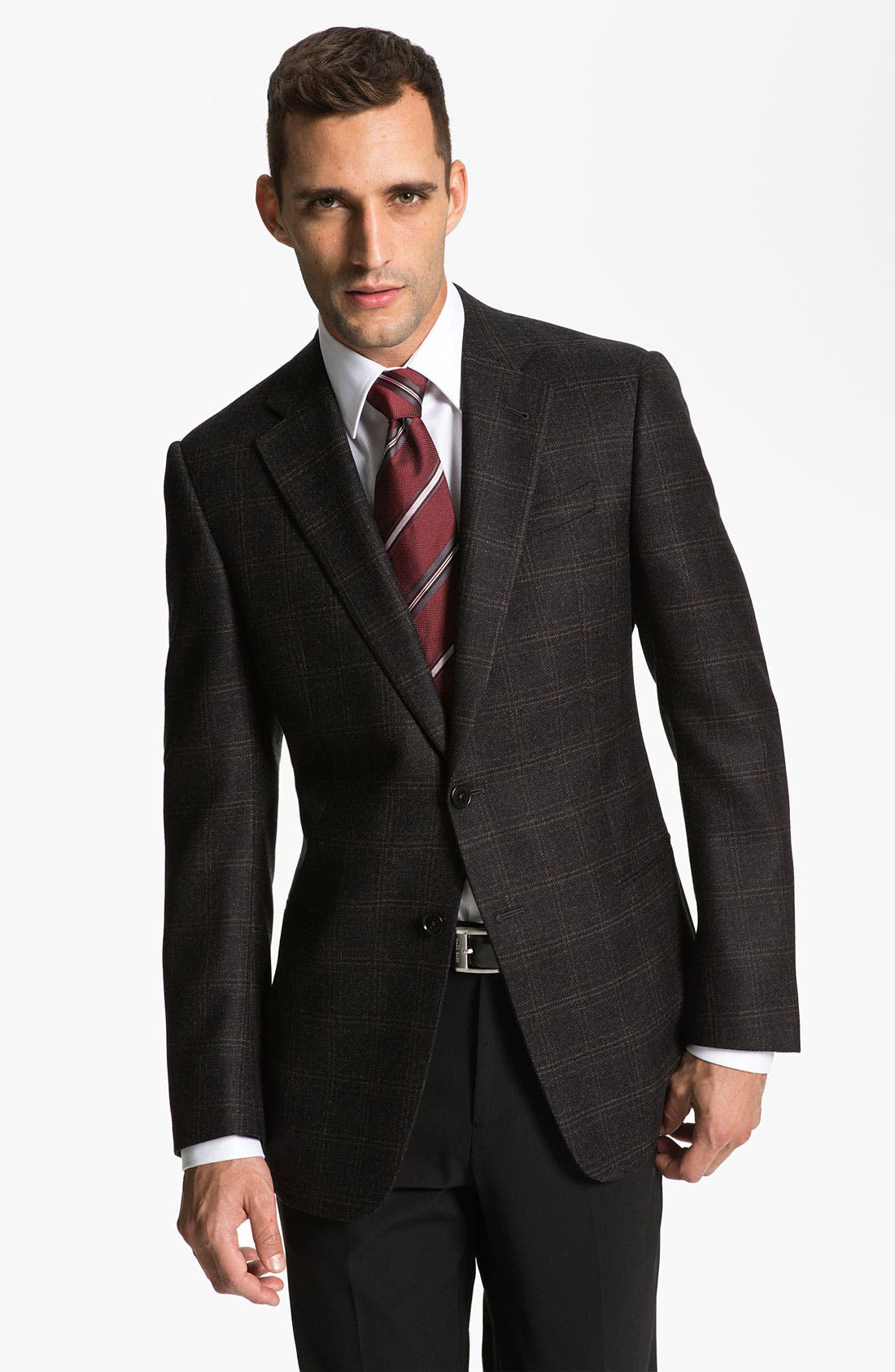 Alternate Image 1 Selected - Armani Collezioni 'Giorgio' Trim Fit Plaid Sportcoat