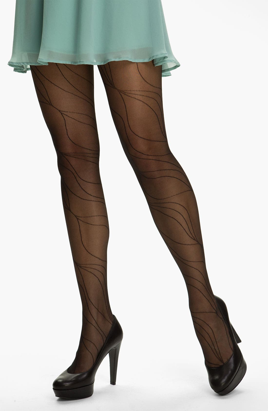 Alternate Image 1 Selected - Calvin Klein 'Linear Spiral' Control Top Pantyhose