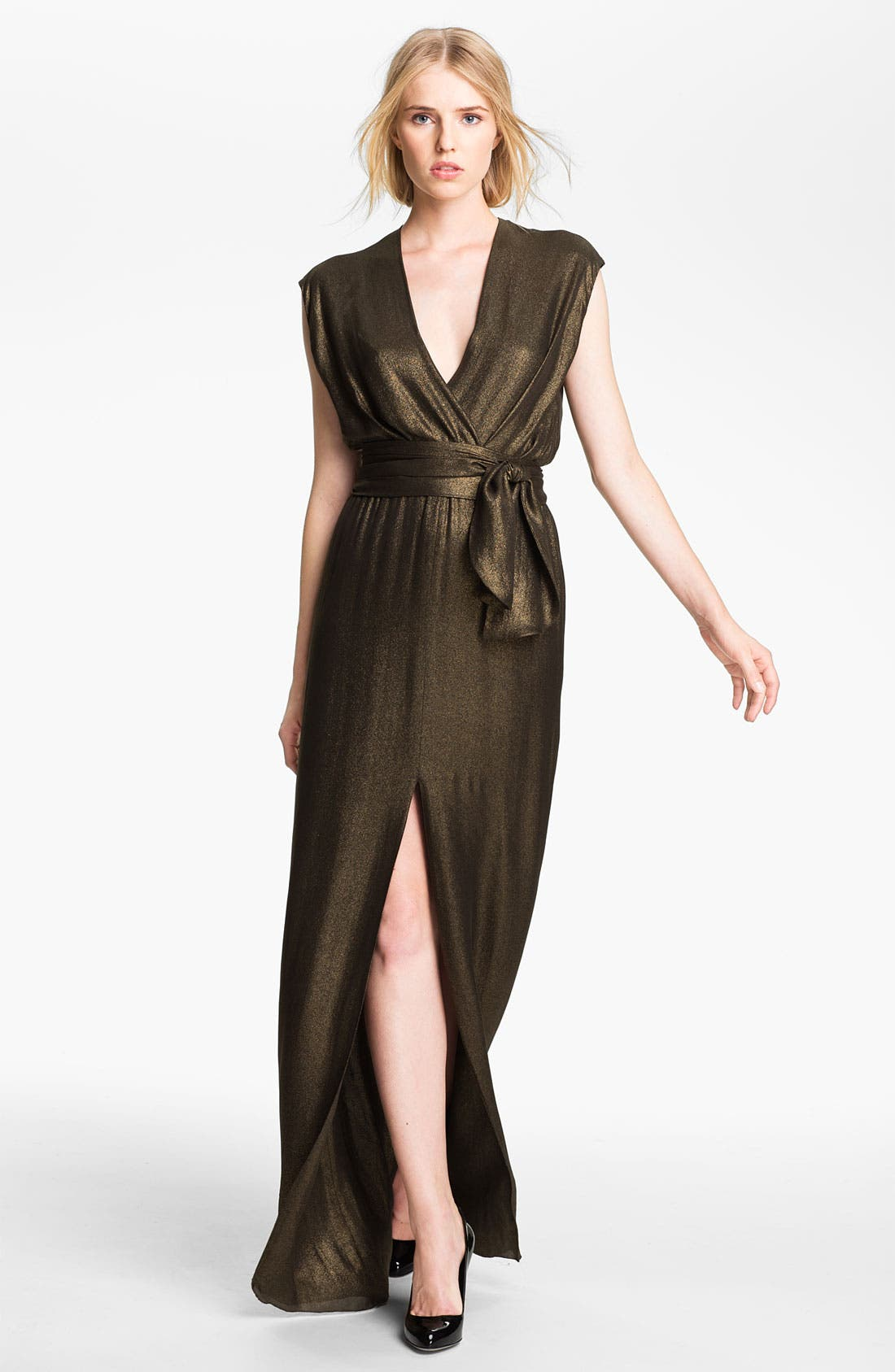 Main Image - L'AGENCE Tie Waist Draped Gown