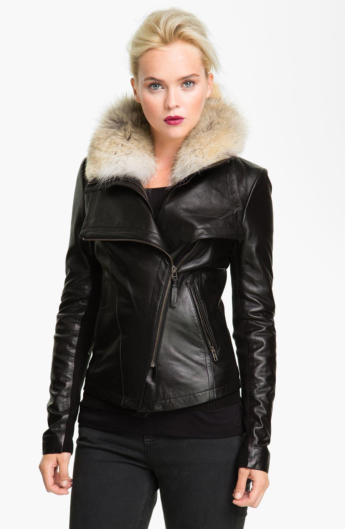 Main Image - Mackage 'Jora' Genuine Coyote Fur Collar Leather Jacket with Removable Vest